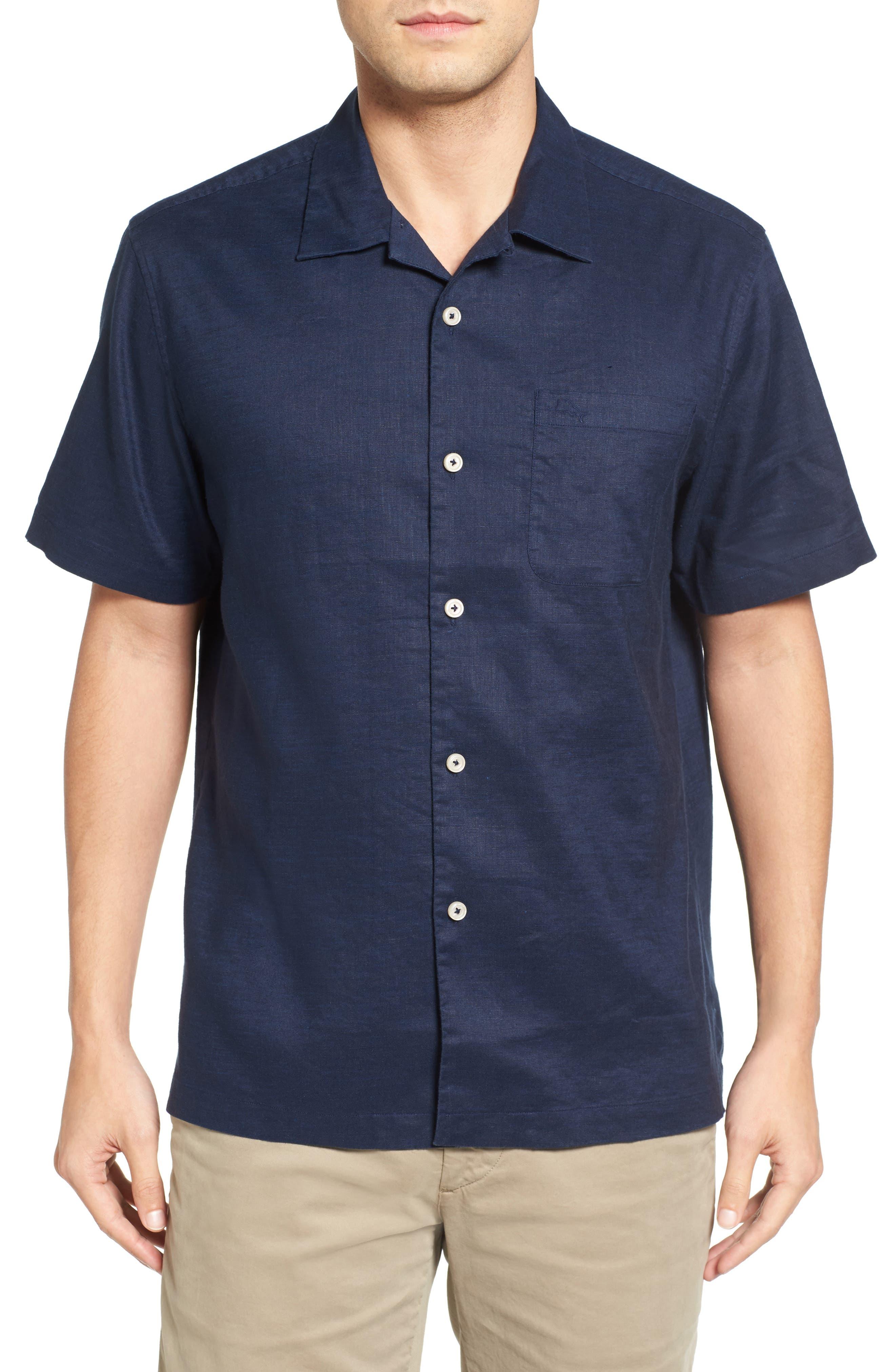 Monaco Tides Standard Fit Linen Blend Camp Shirt,                             Main thumbnail 5, color,