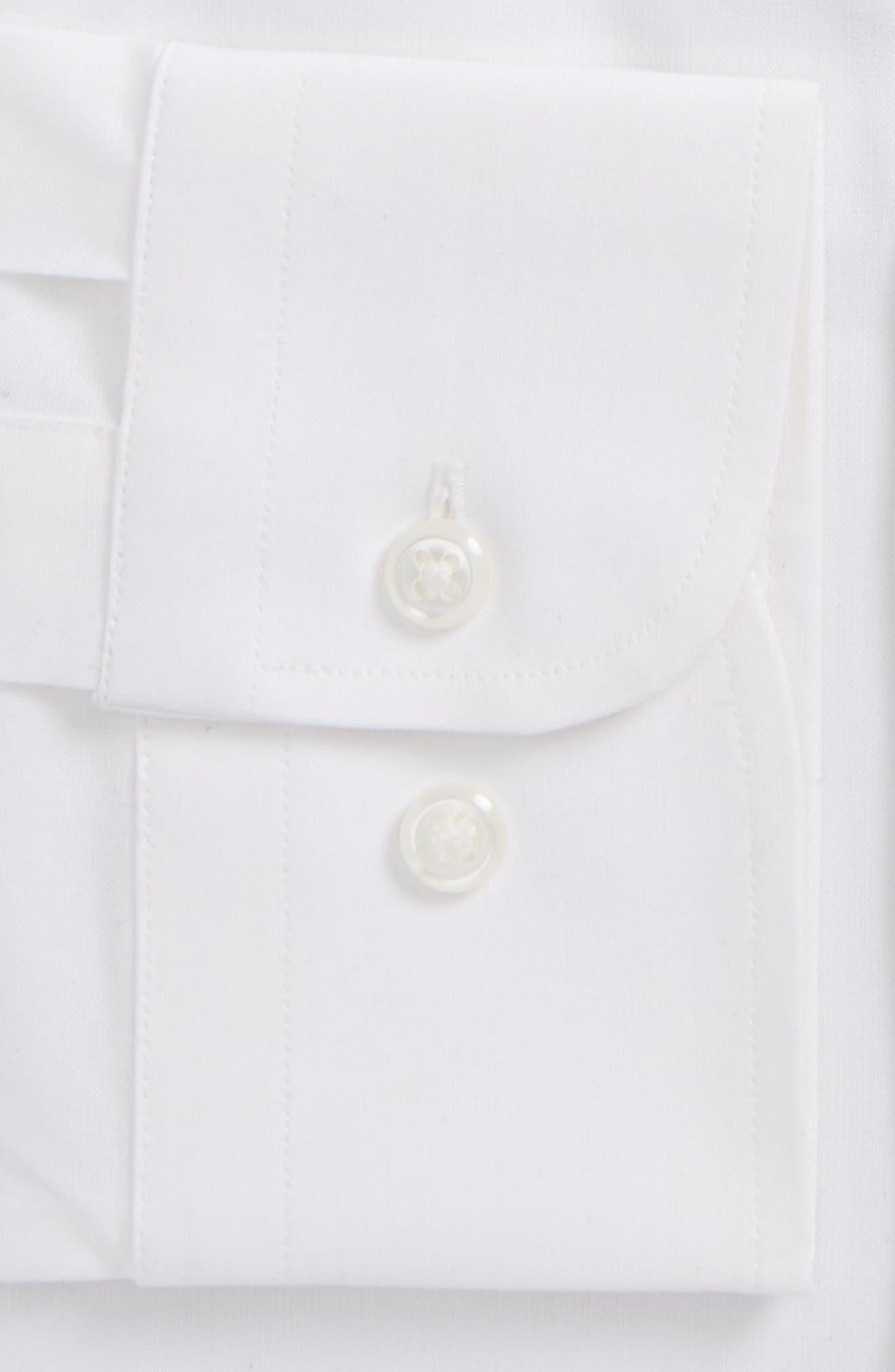 Tech-Smart Trim Fit Stretch Pinpoint Dress Shirt,                             Alternate thumbnail 4, color,                             WHITE