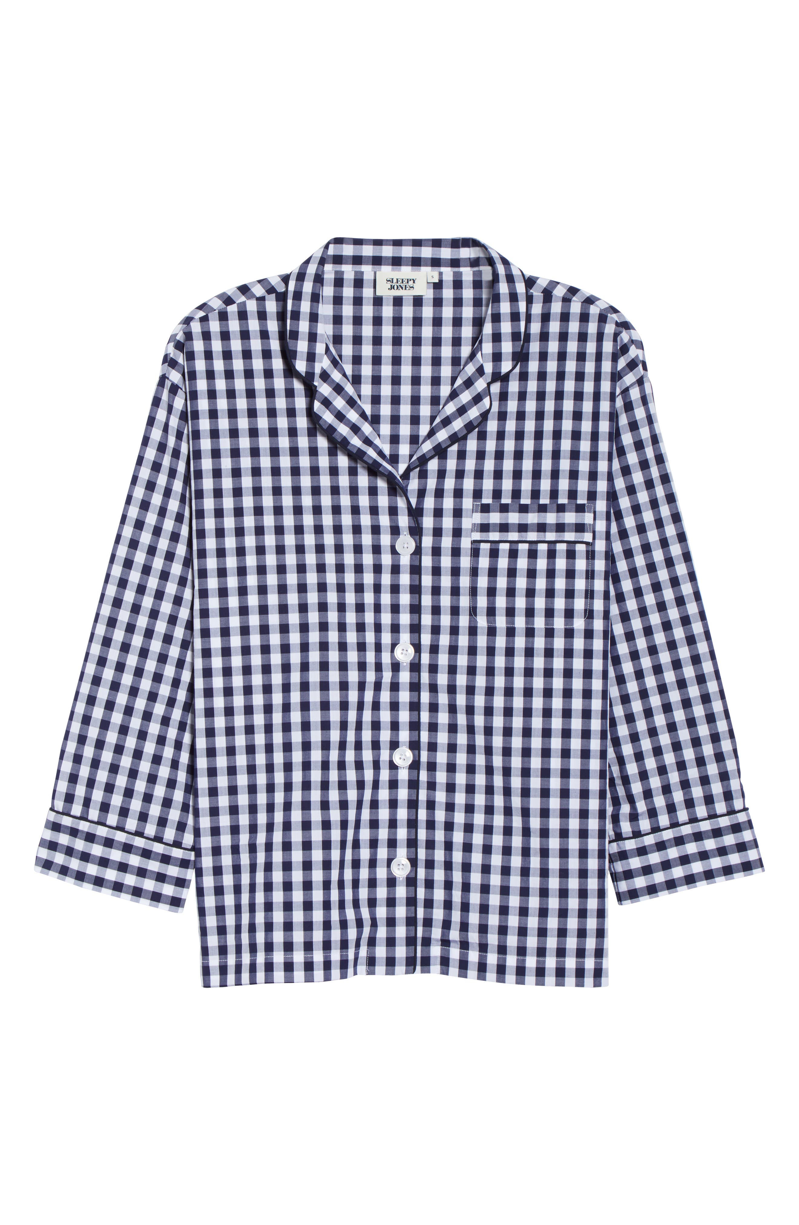 Marina Women's Pajama Shirt,                             Main thumbnail 1, color,                             LARGE GINGHAM BLUE