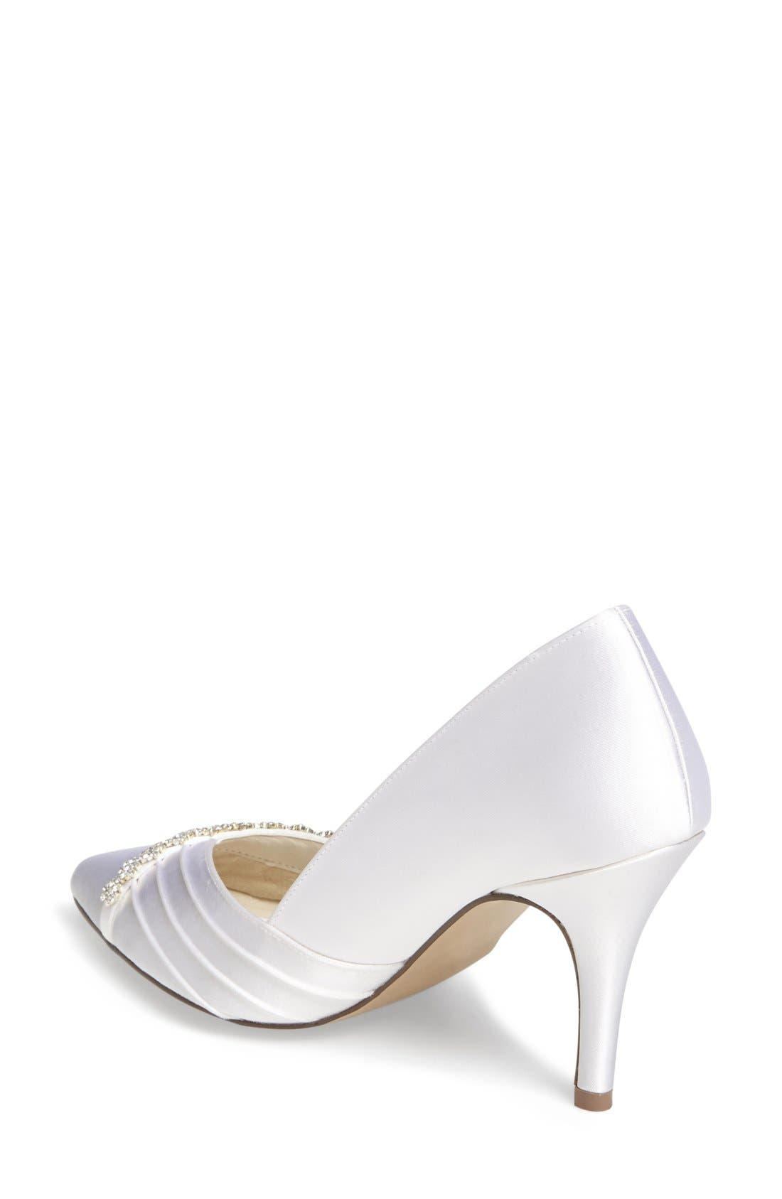 Union Crystal Embellished Pointy Toe Pump,                             Alternate thumbnail 3, color,                             100