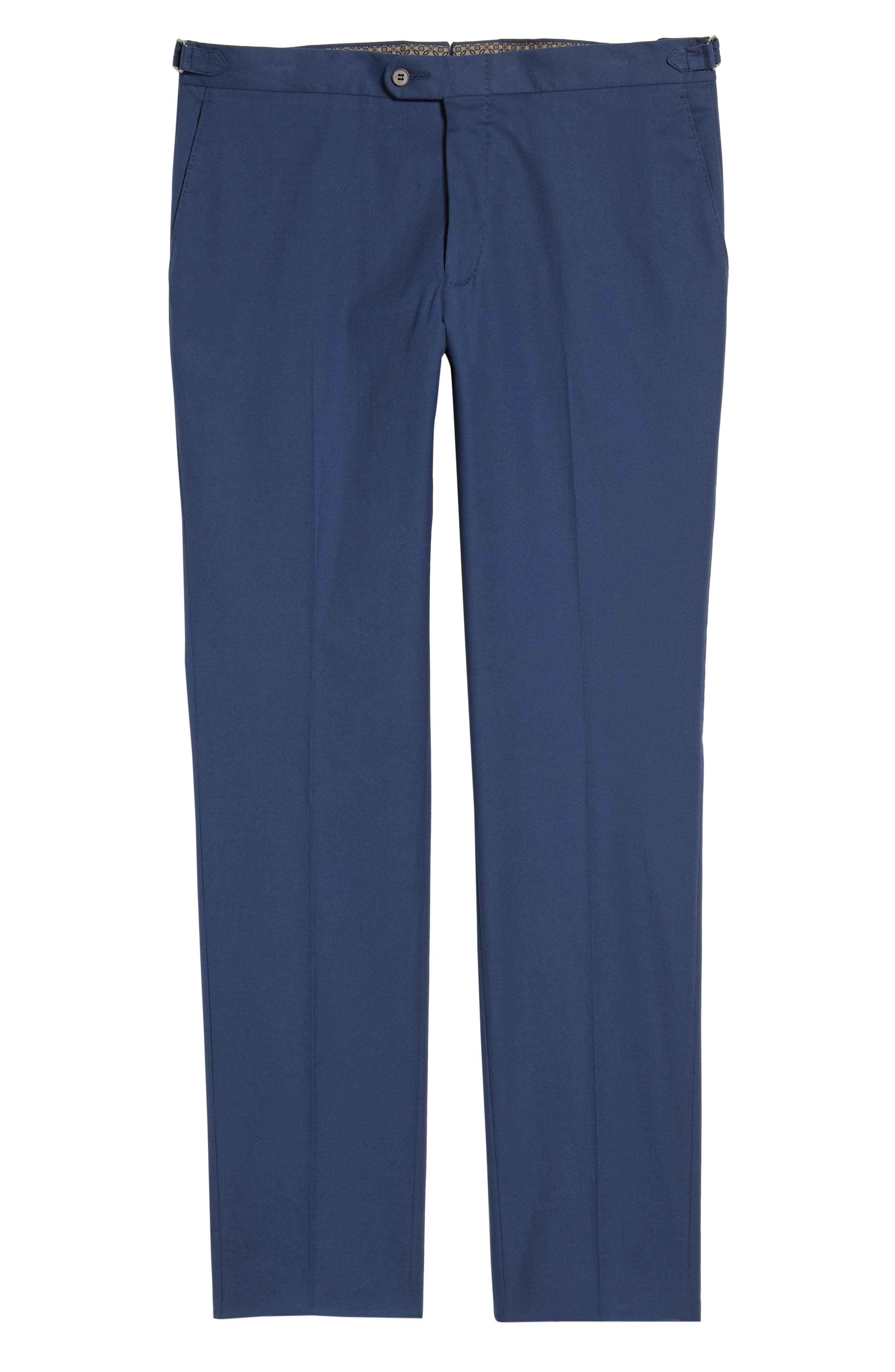 Flat Front Solid Stretch Cotton Trousers,                             Alternate thumbnail 6, color,                             422