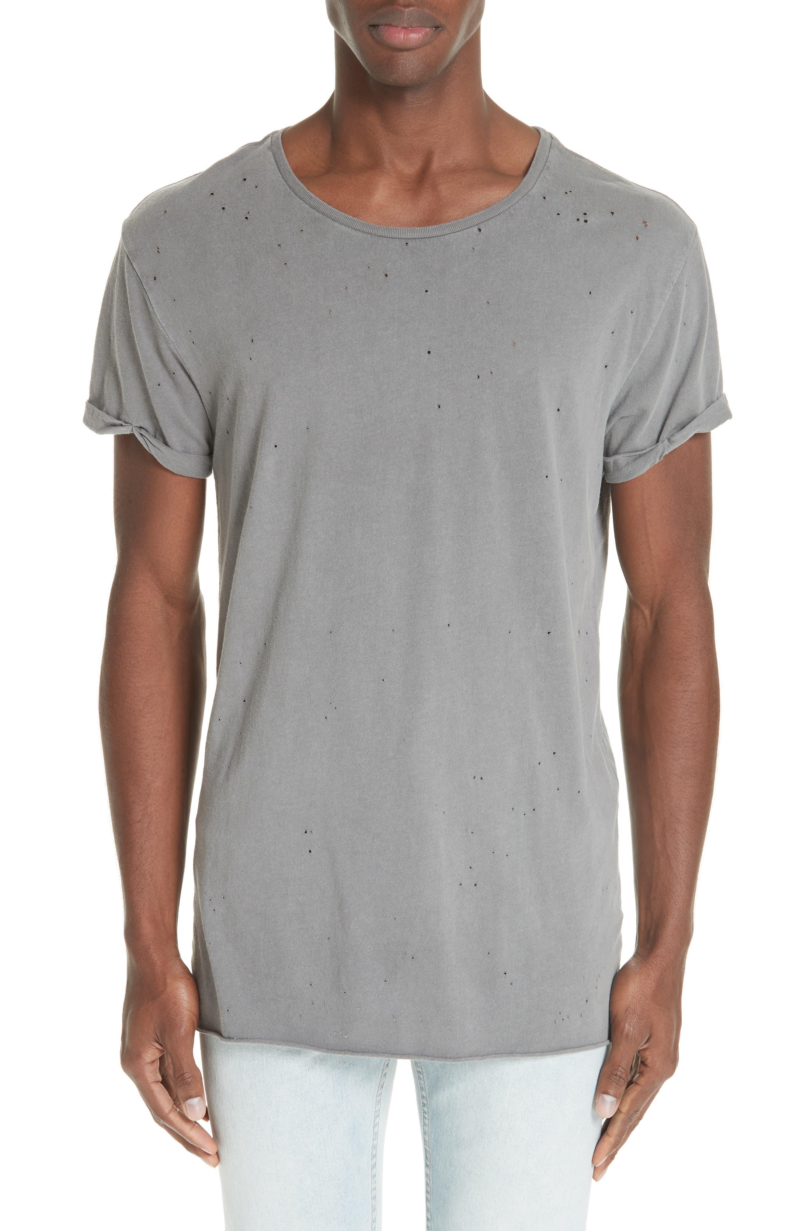 Kodeine Distressed T-Shirt,                             Main thumbnail 1, color,                             GREY