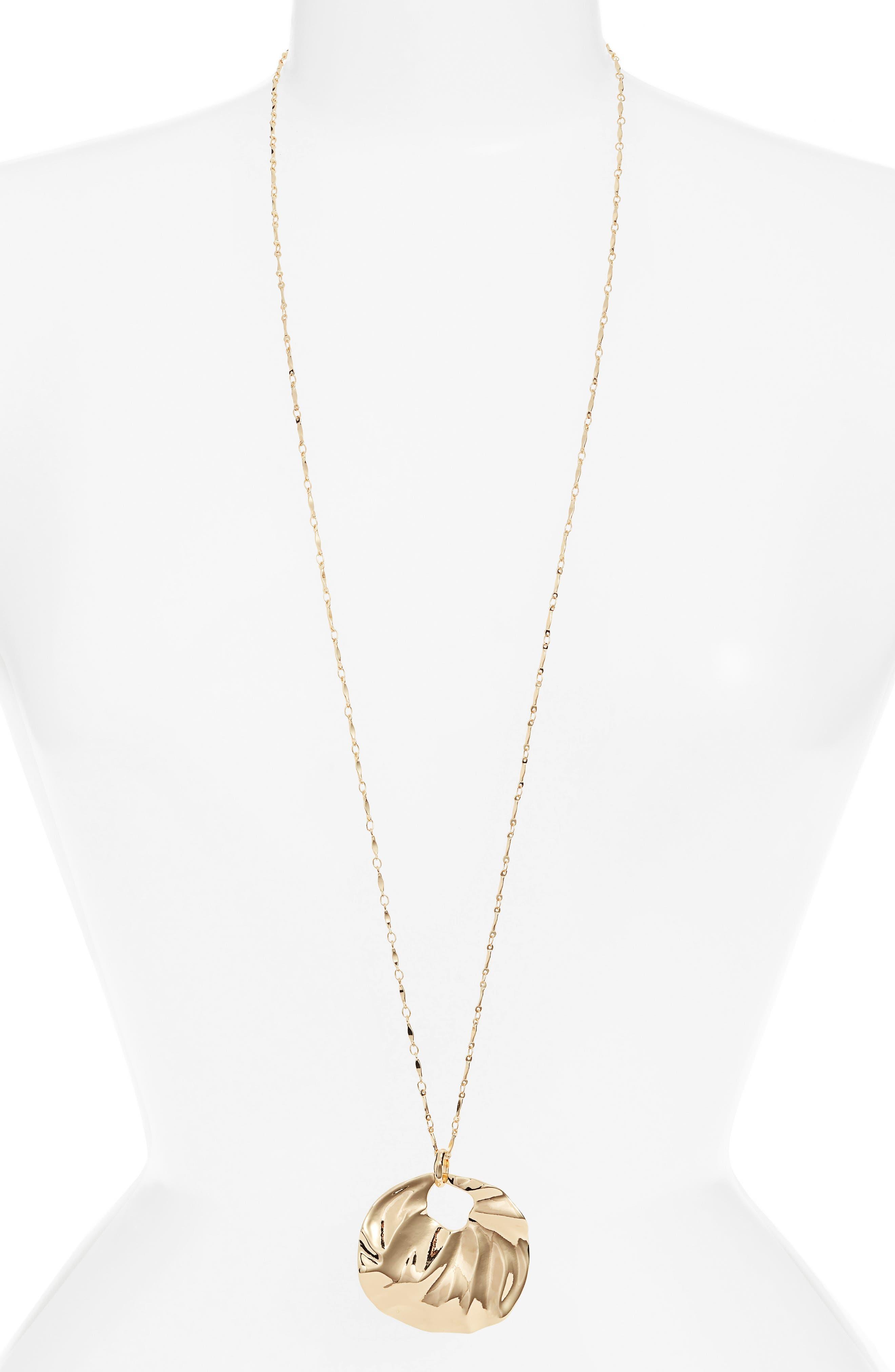 Molten Long Pendant Necklace,                         Main,                         color, GOLD
