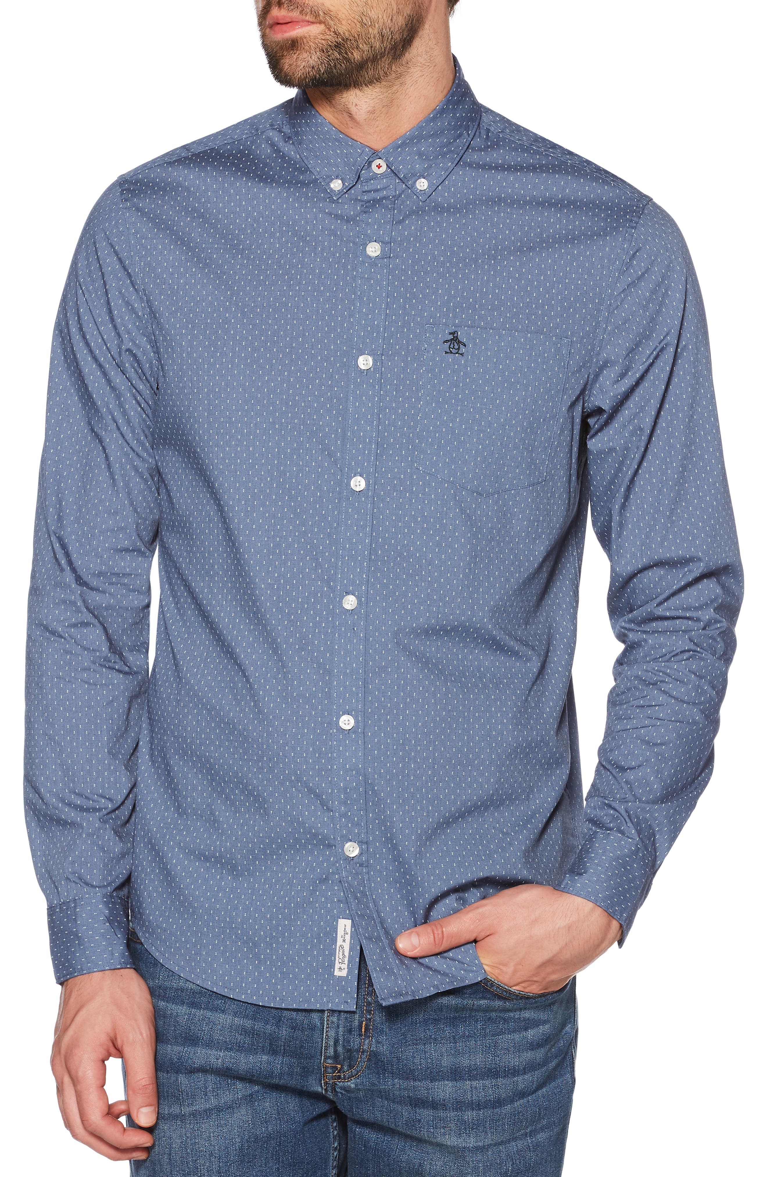 Slim Fit Dotted Sport Shirt,                             Main thumbnail 1, color,                             DARK SAPPHIRE