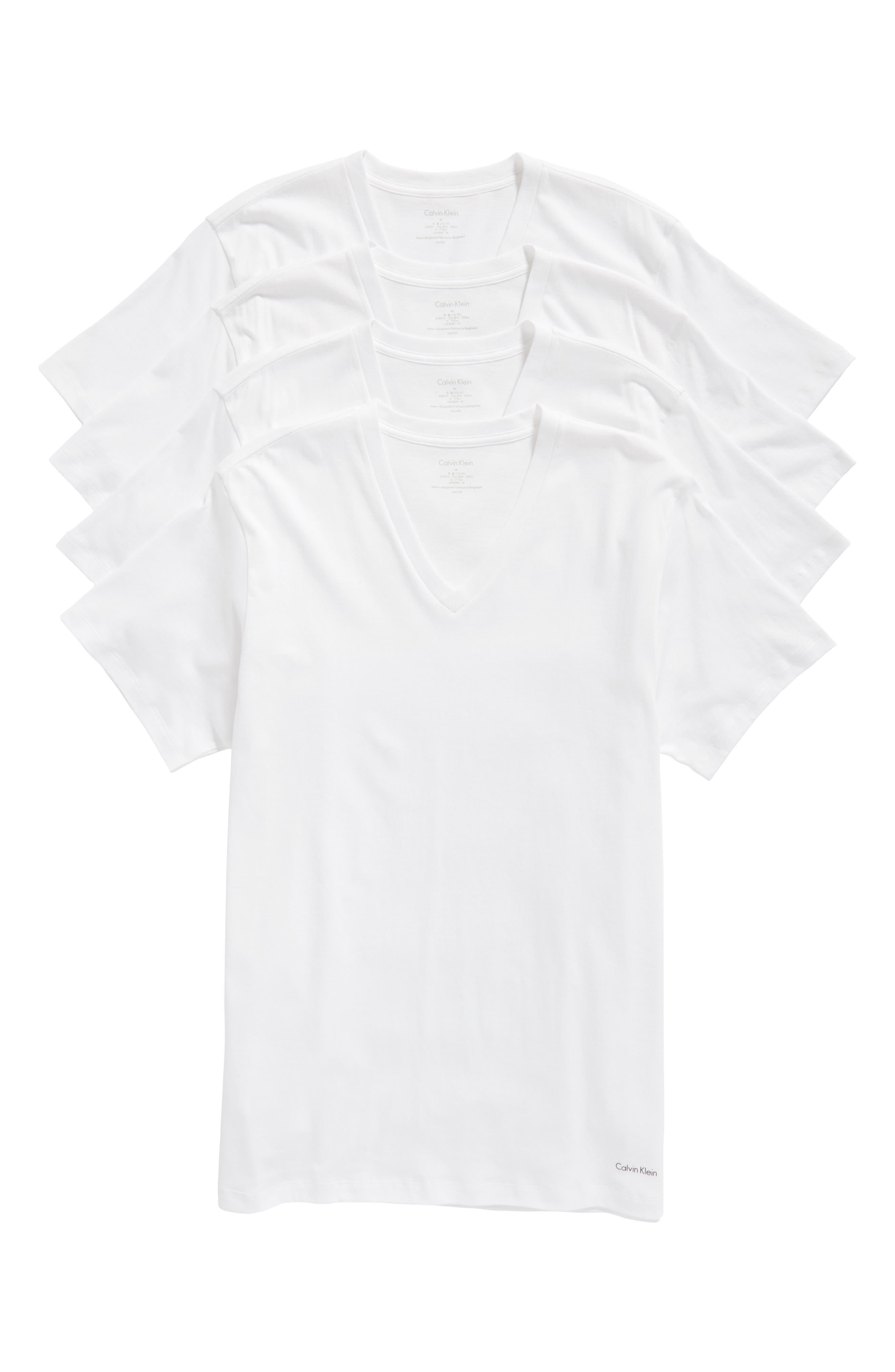 4-Pack V-Neck T-Shirt,                             Alternate thumbnail 5, color,                             WHITE