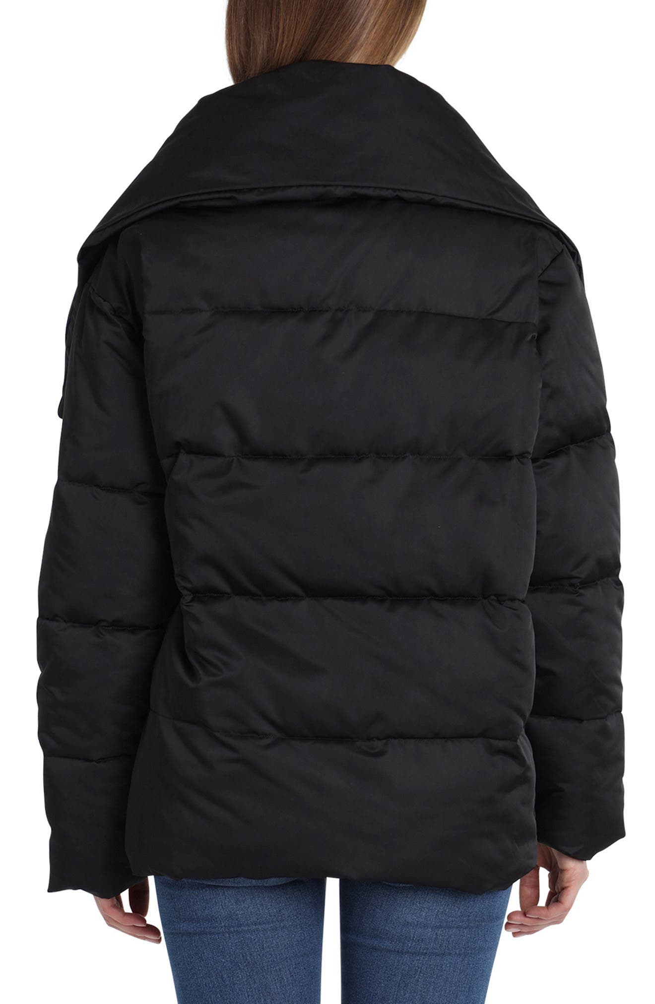 Wrap Puffer Jacket,                             Alternate thumbnail 2, color,                             BLACK