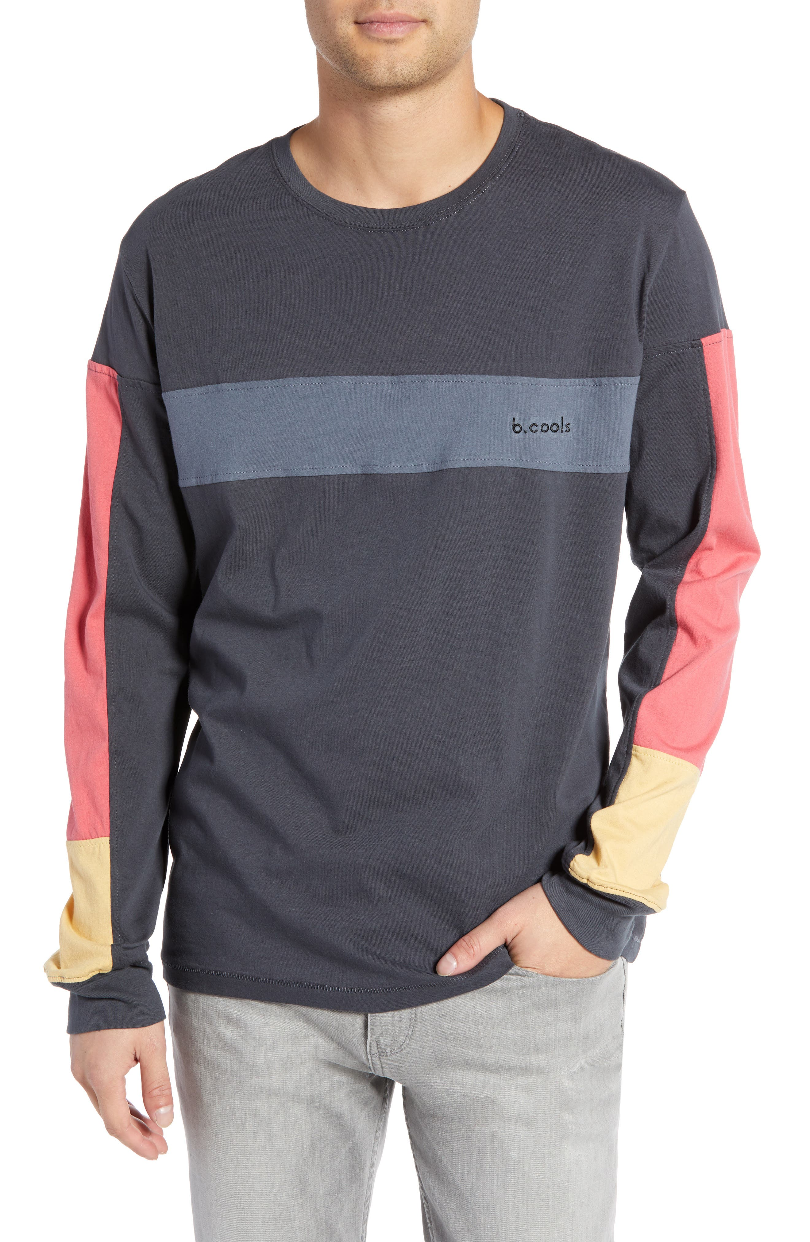BARNEY COOLS B Quick Colorblock Long Sleeve T-Shirt, Main, color, 001