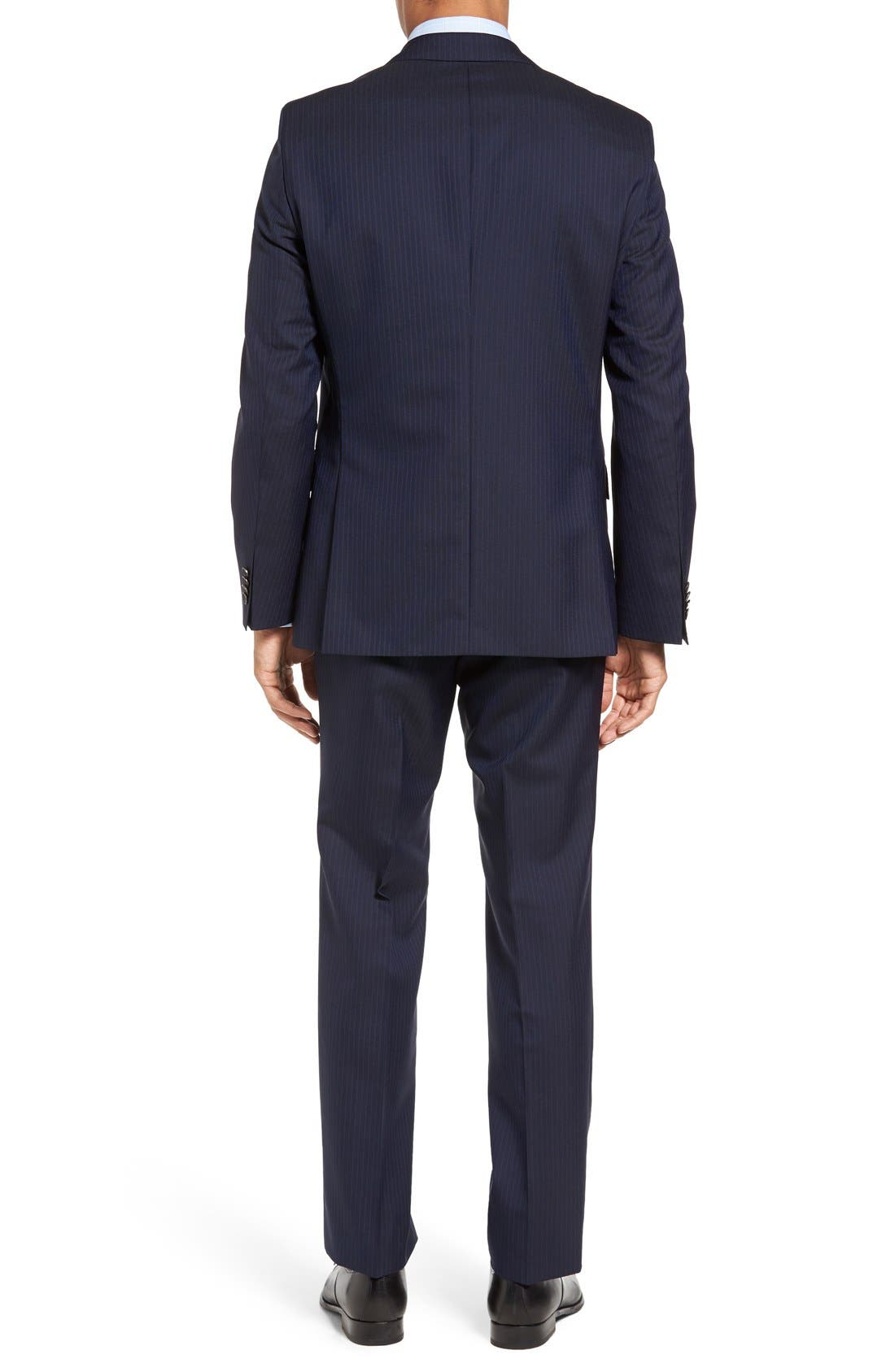 BOSS Johnstons/Lenon Trim Fit Stripe Wool Suit,                             Alternate thumbnail 2, color,                             402