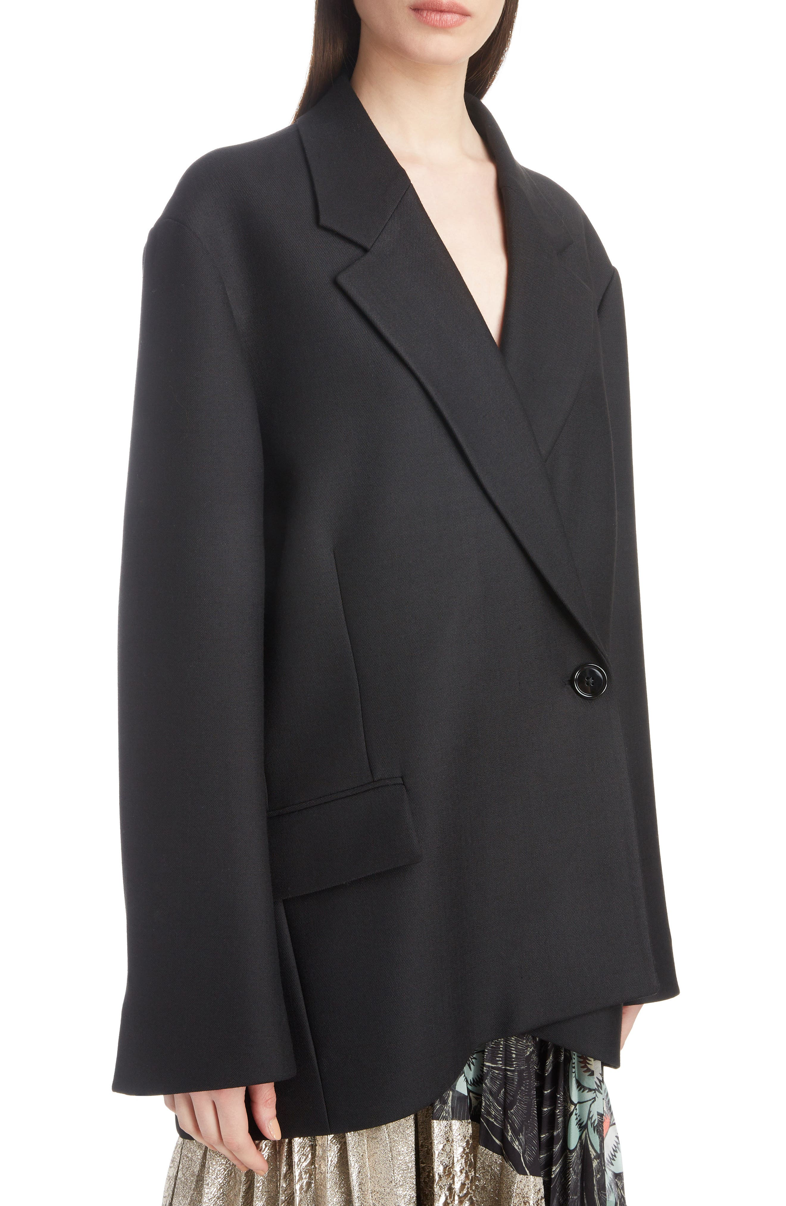 DRIES VAN NOTEN,                             Double Breasted One-Button Blazer,                             Alternate thumbnail 4, color,                             001