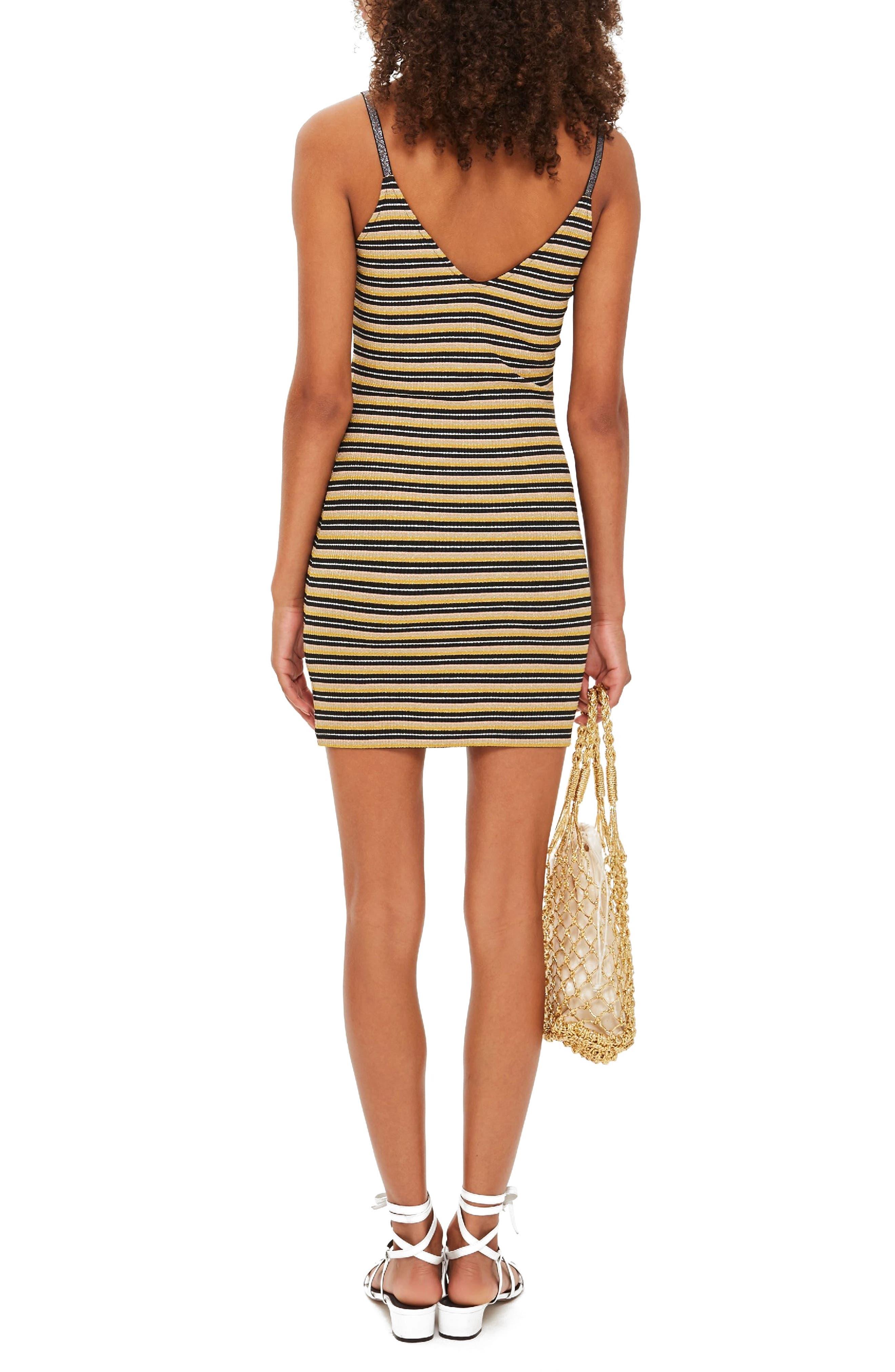 Metallic Stripe Body-Con Dress,                             Alternate thumbnail 2, color,                             BLACK MULTI