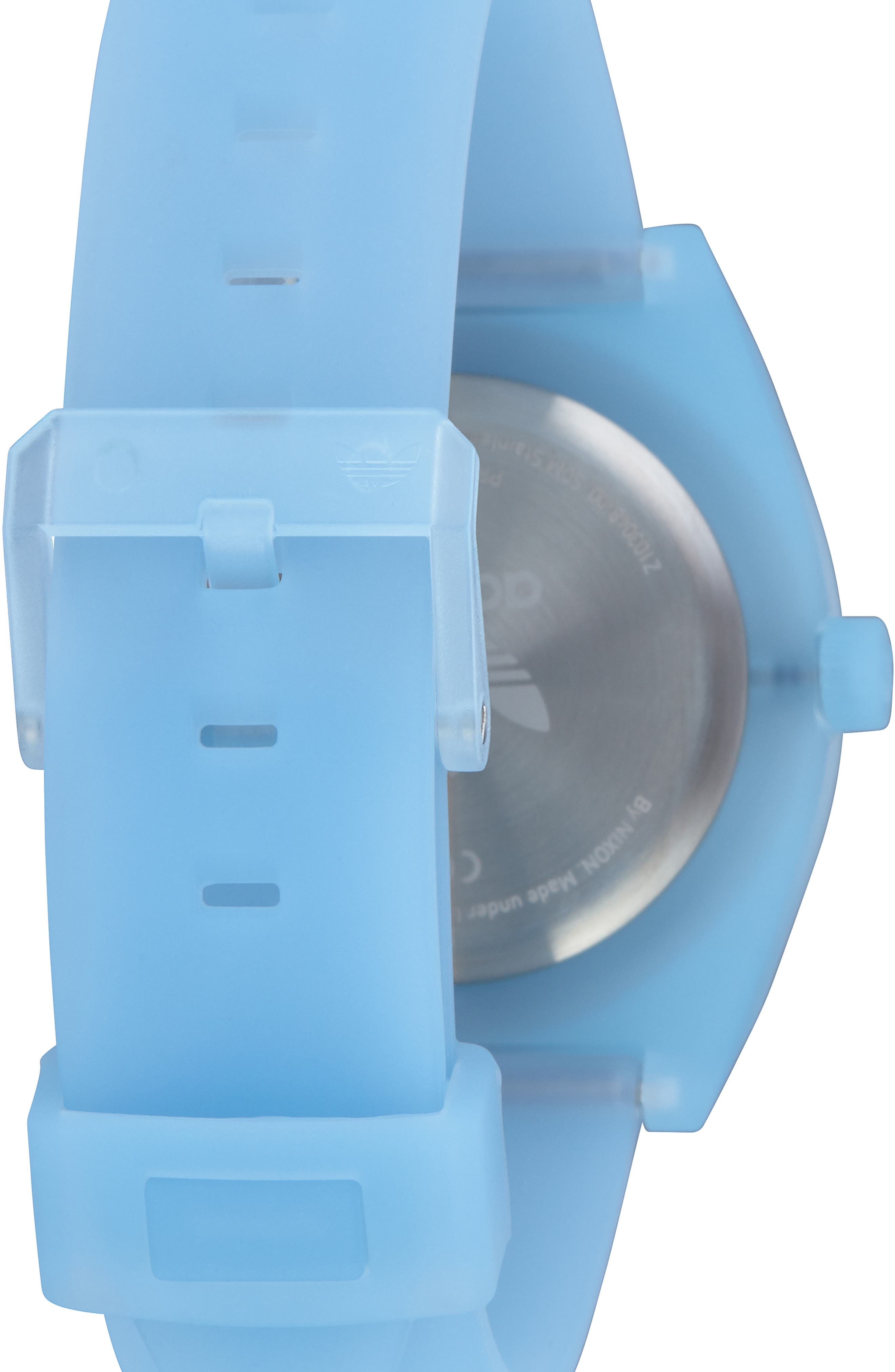 Process Silicone Strap Watch, 38mm,                             Alternate thumbnail 2, color,                             CLEAR BLUE