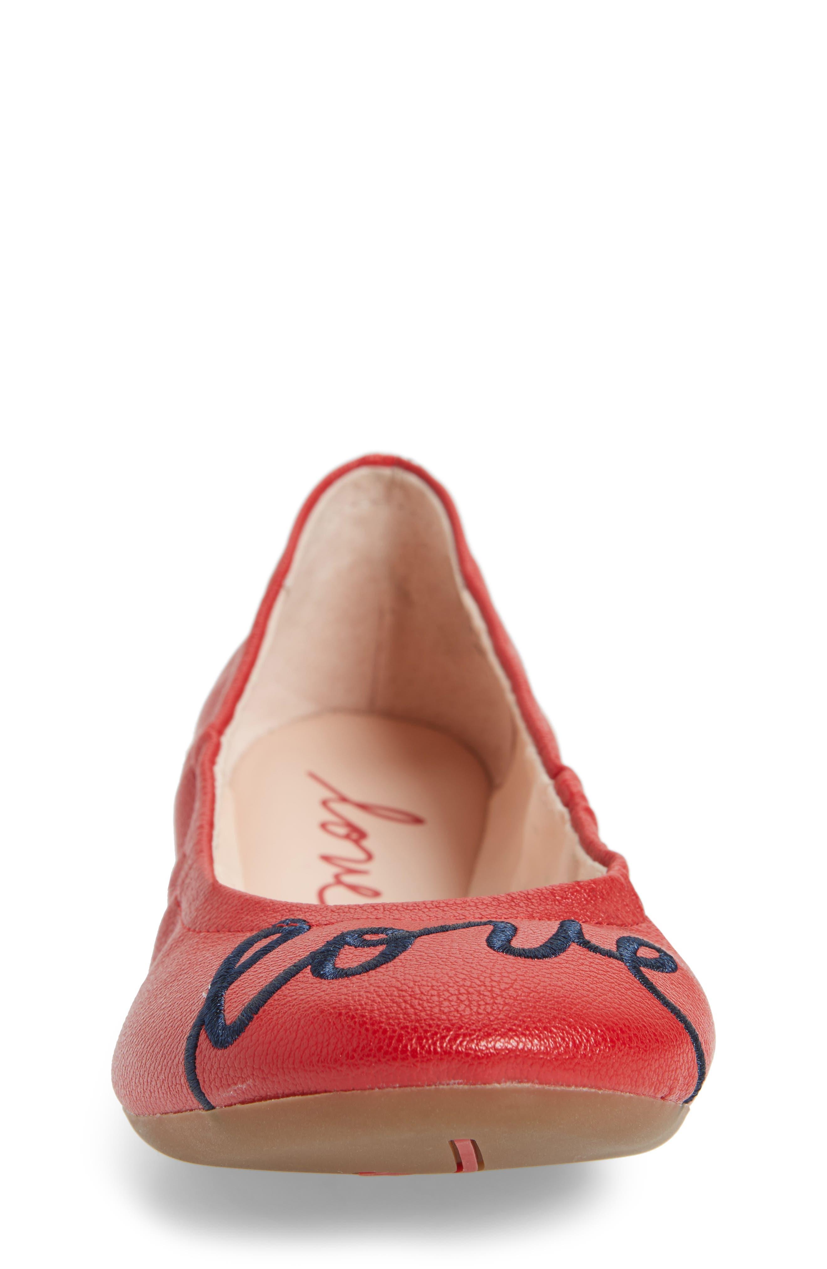 Langlee Embroidered Ballet Flat,                             Alternate thumbnail 4, color,                             SALSA