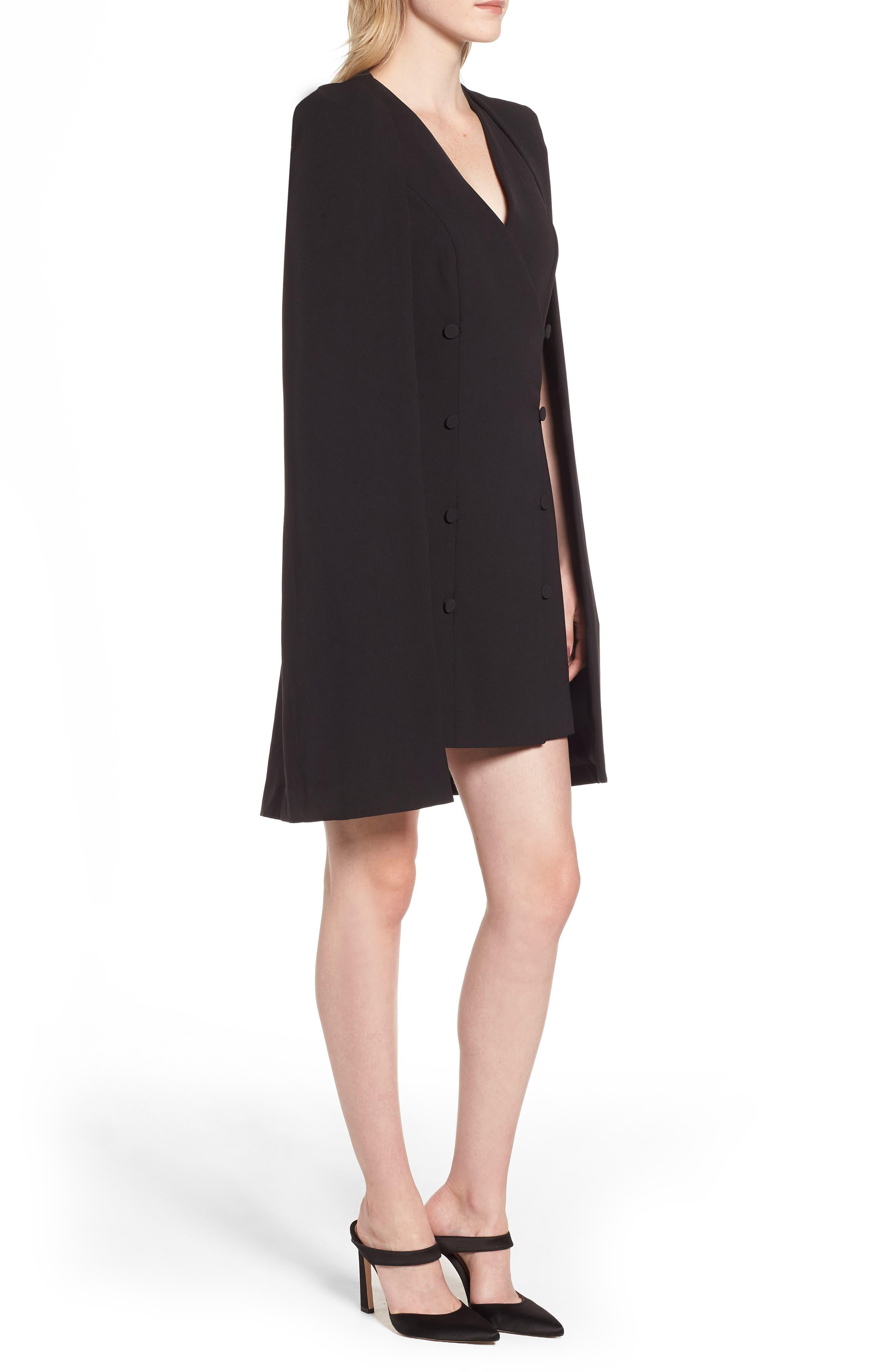 ELLIATT,                             Sorrento Cape Dress,                             Alternate thumbnail 3, color,                             001