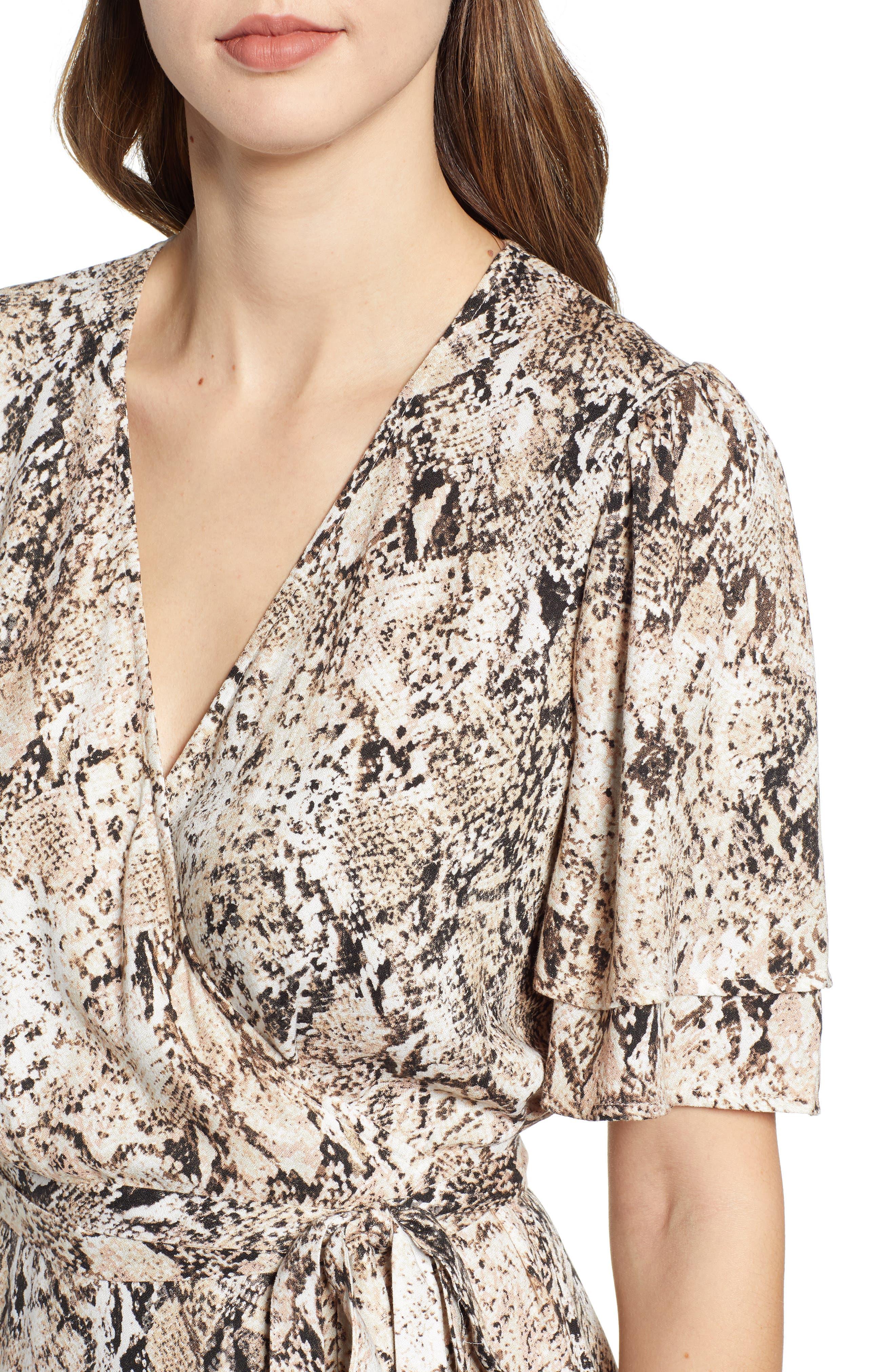 LEITH,                             Ruffle Sleeve Wrap Dress,                             Alternate thumbnail 4, color,                             IVORY SNAKE PRINT