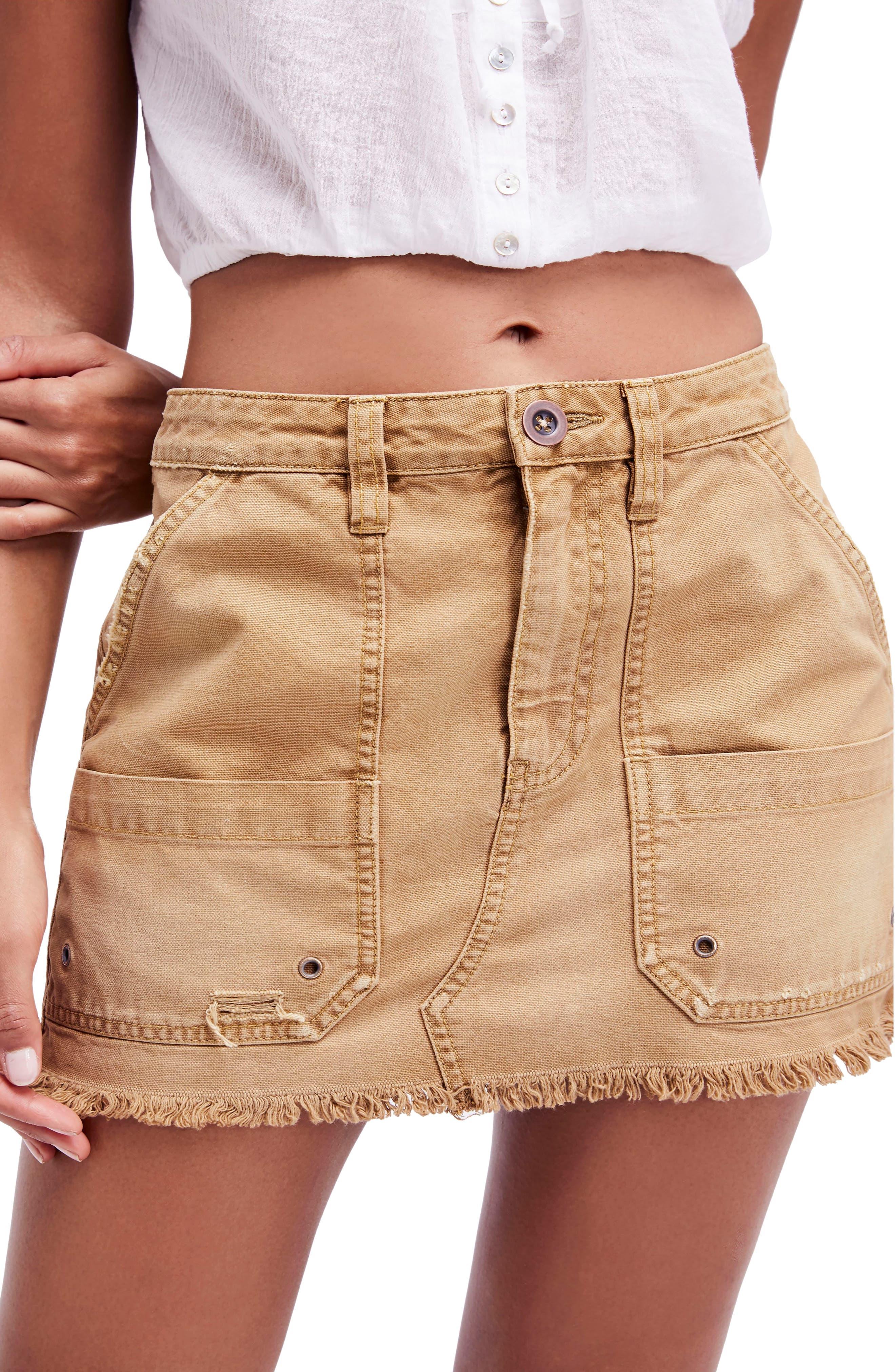 Canvas Miniskirt,                         Main,                         color,