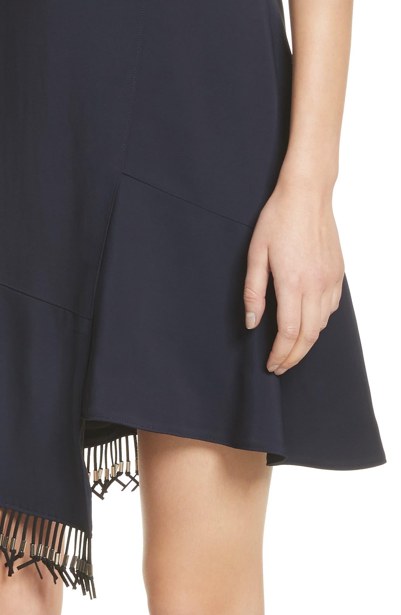 Asymmetrical Fringe Hem Dress,                             Alternate thumbnail 4, color,                             400