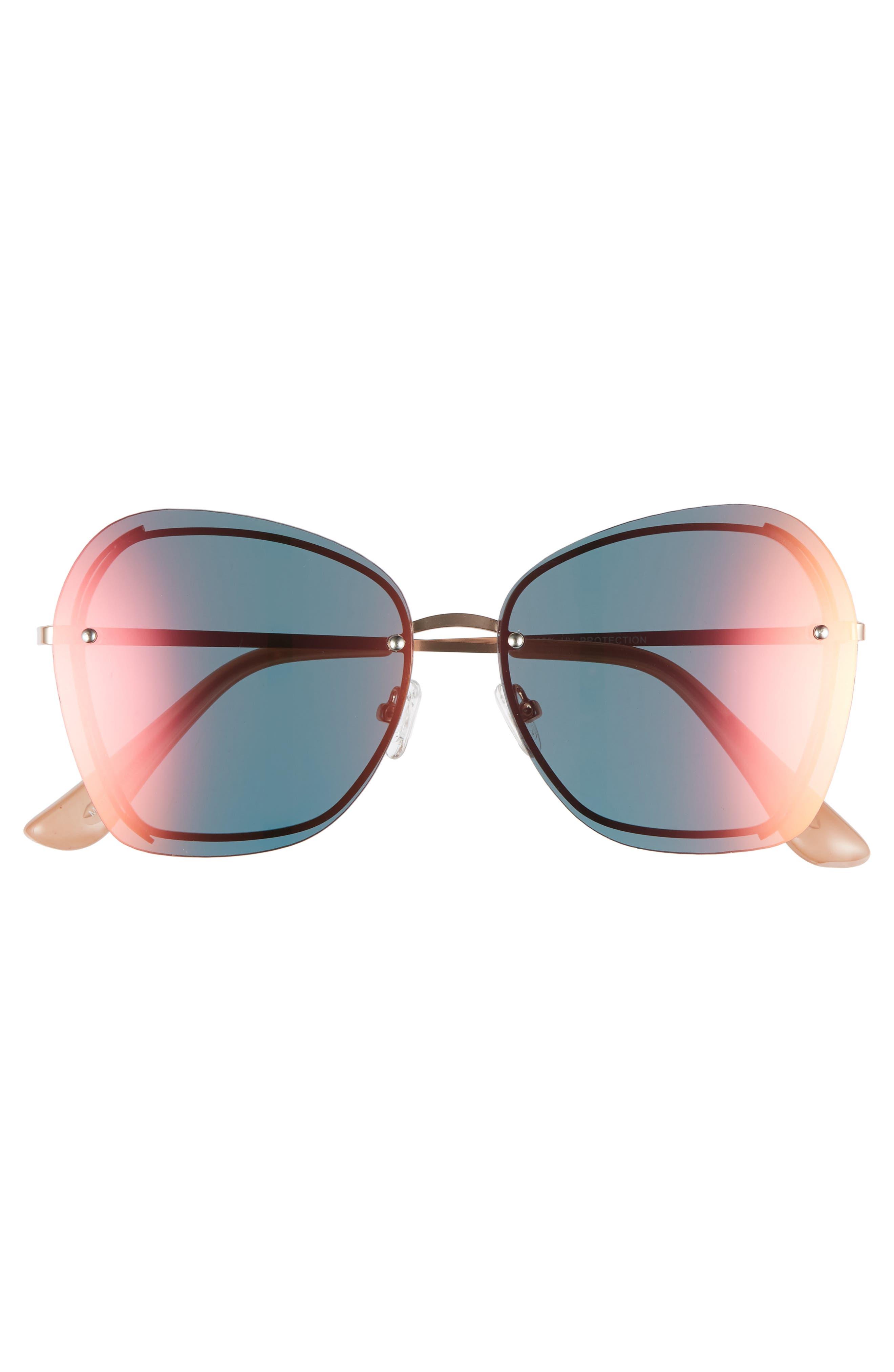LEITH,                             61mm Rimless Square Sunglasses,                             Alternate thumbnail 3, color,                             710