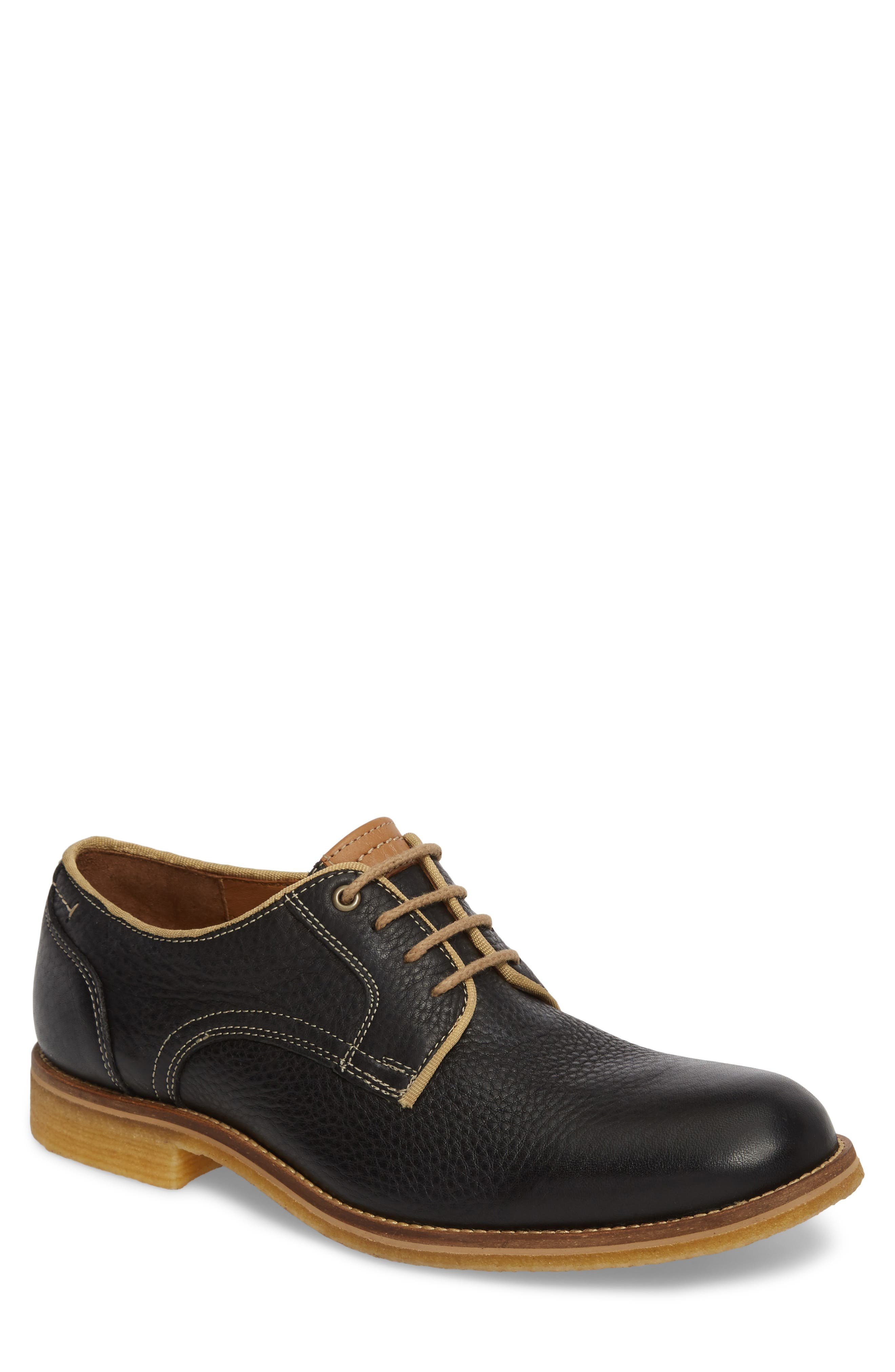 Howell Plain Toe Derby,                             Main thumbnail 1, color,                             BLACK LEATHER