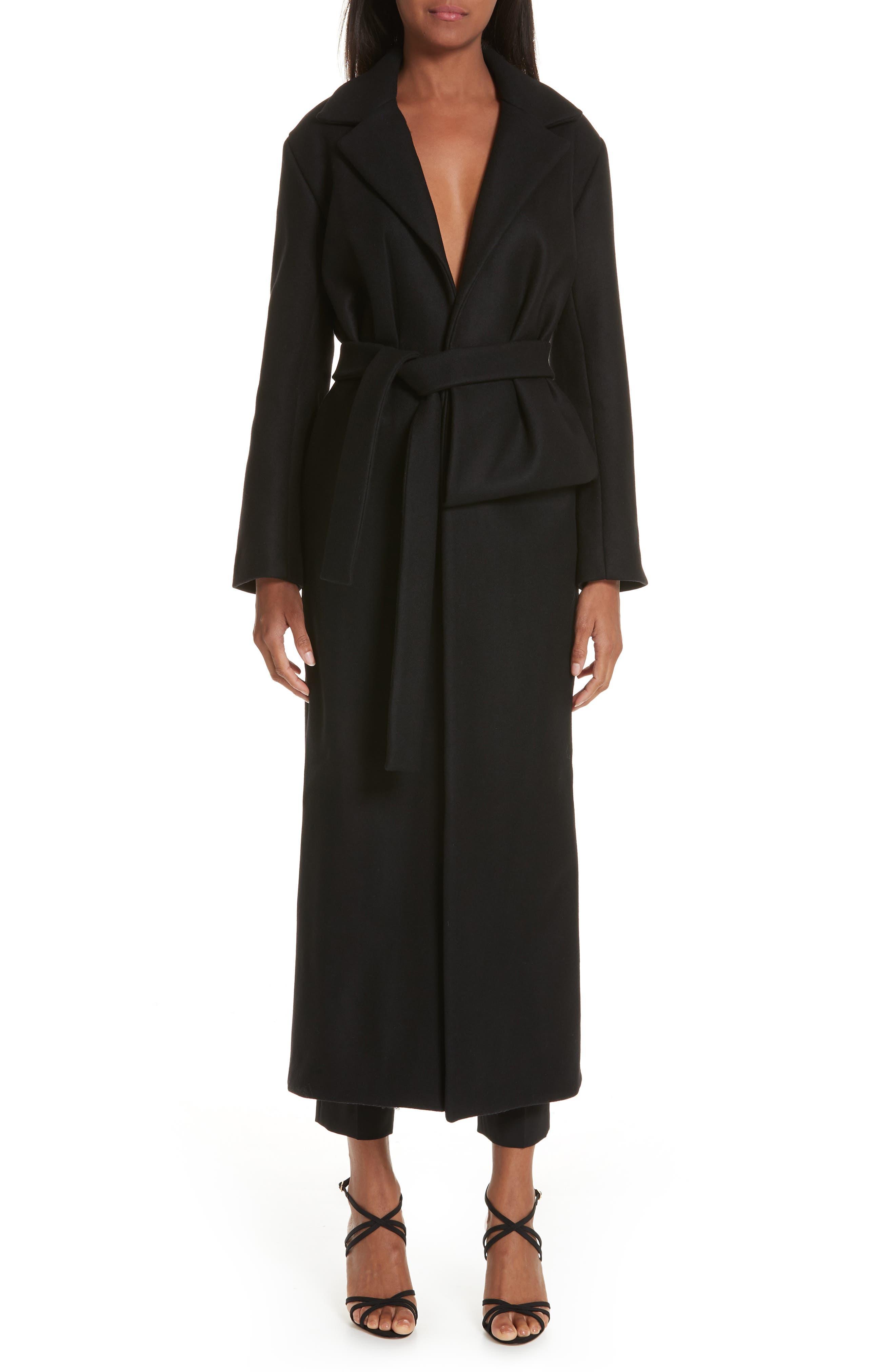 Le Manteau Aissa Belted Wool Blend Coat,                             Alternate thumbnail 7, color,                             001
