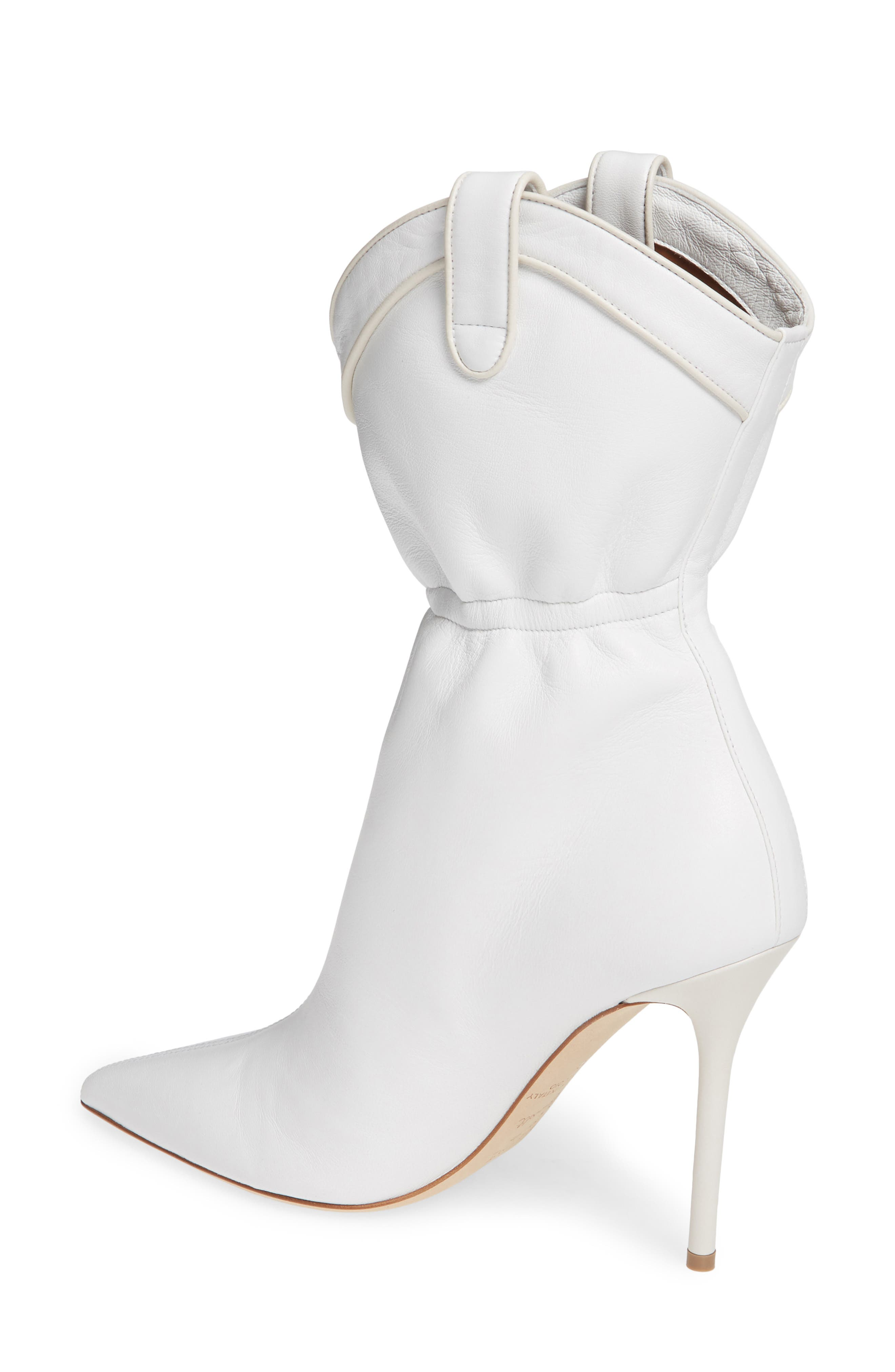 MALONE SOULIERS,                             Daisy Cinched Bootie,                             Alternate thumbnail 2, color,                             WHITE LEATHER