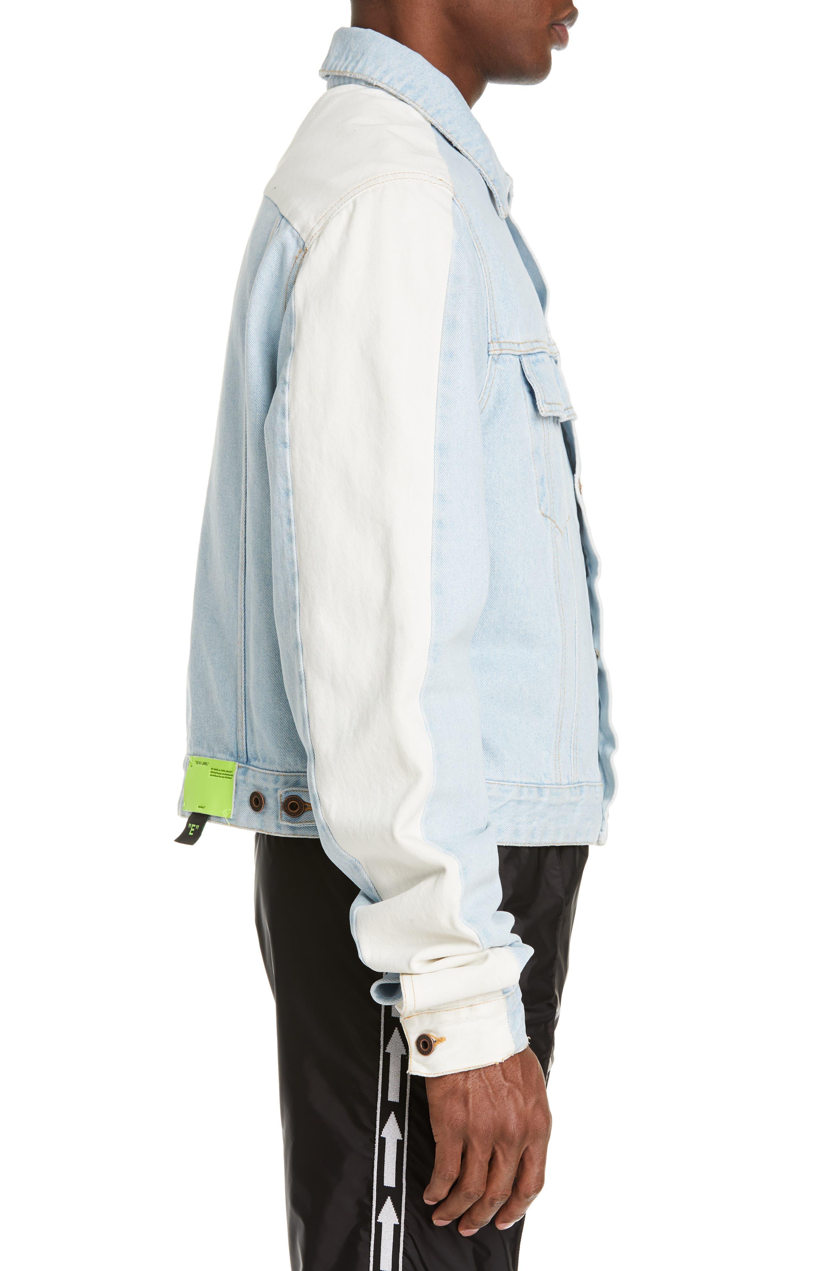 Exaggerated Sleeve Denim Jacket,                             Alternate thumbnail 3, color,                             BLEACH