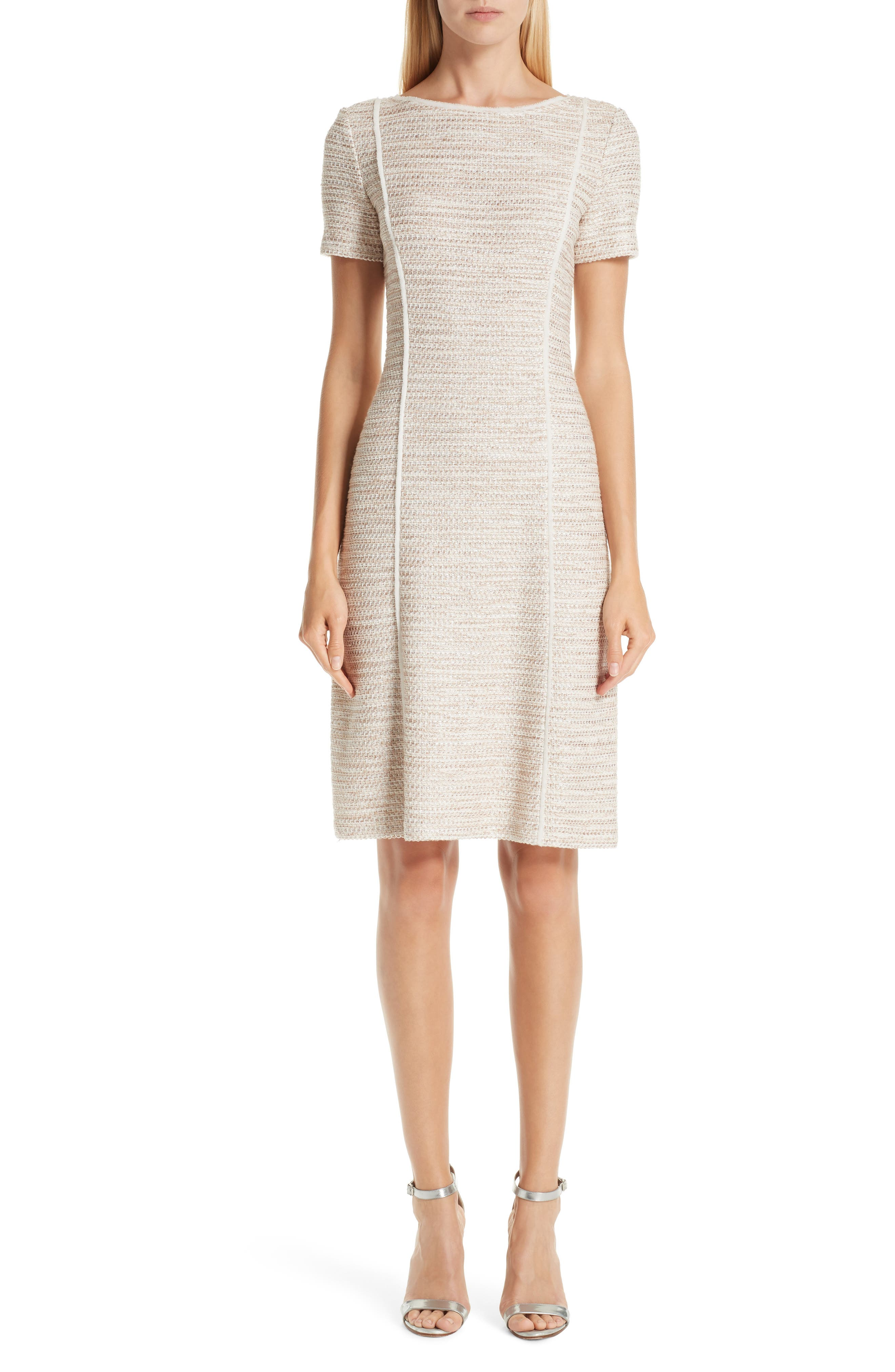 St. John Collection Dune Inlay Knit Sheath Dress, Beige