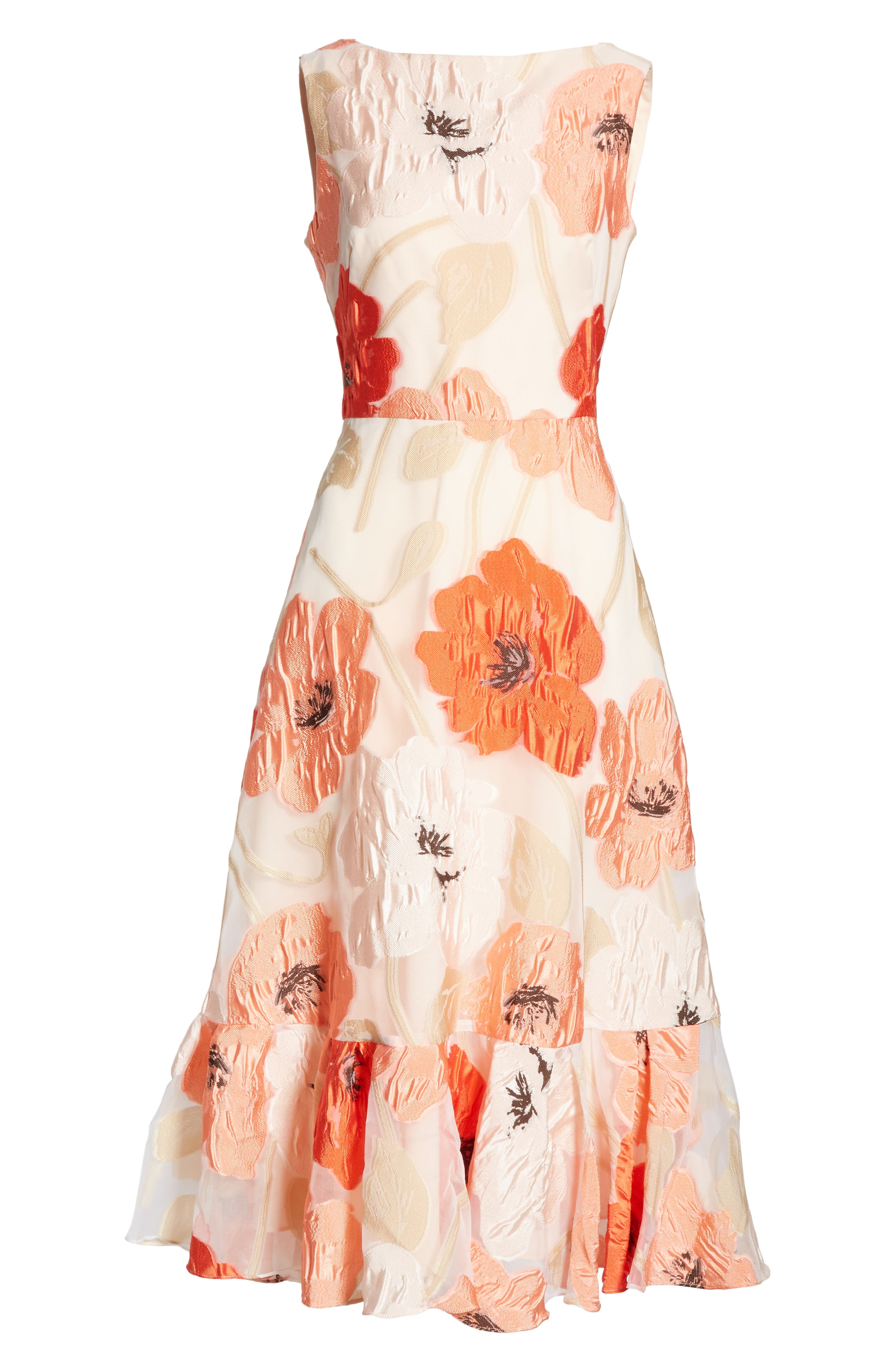 LELA ROSE,                             Oversize Floral Fil Coupé Midi Dress,                             Alternate thumbnail 7, color,                             CORAL MULTI