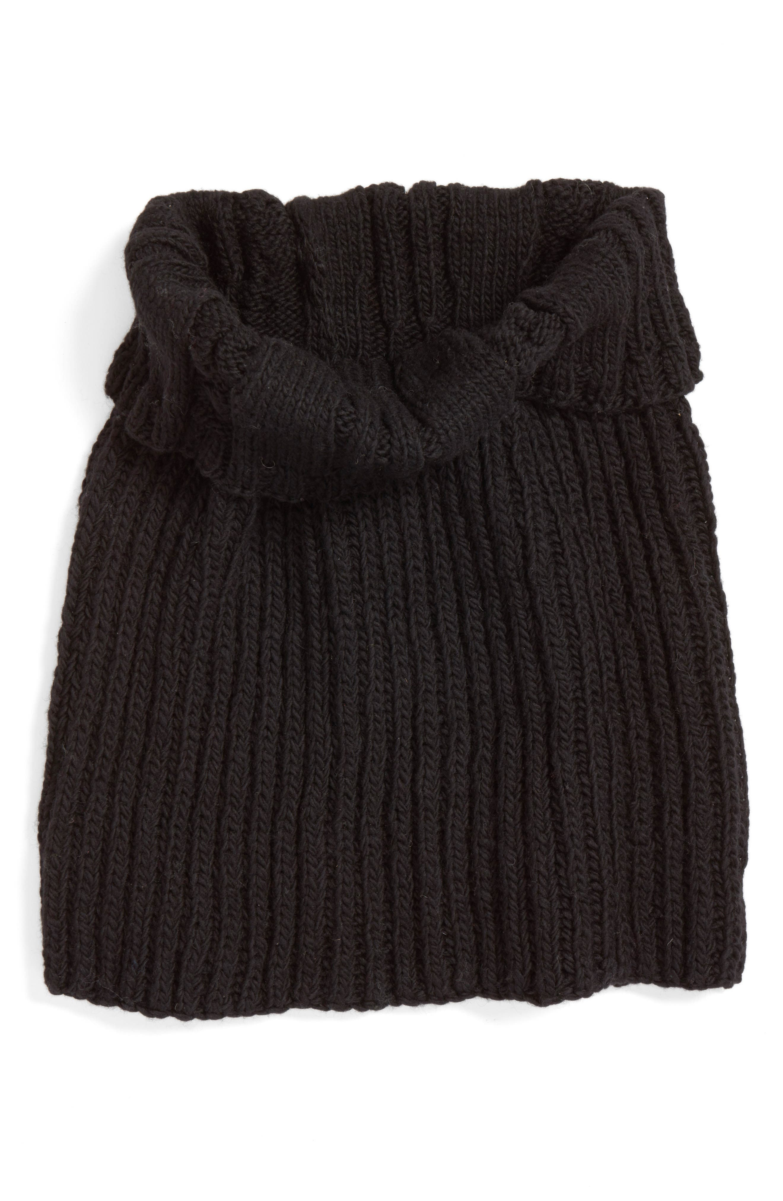 Oversize Cable Knit Wool Infinity Scarf,                             Alternate thumbnail 2, color,                             BLACK