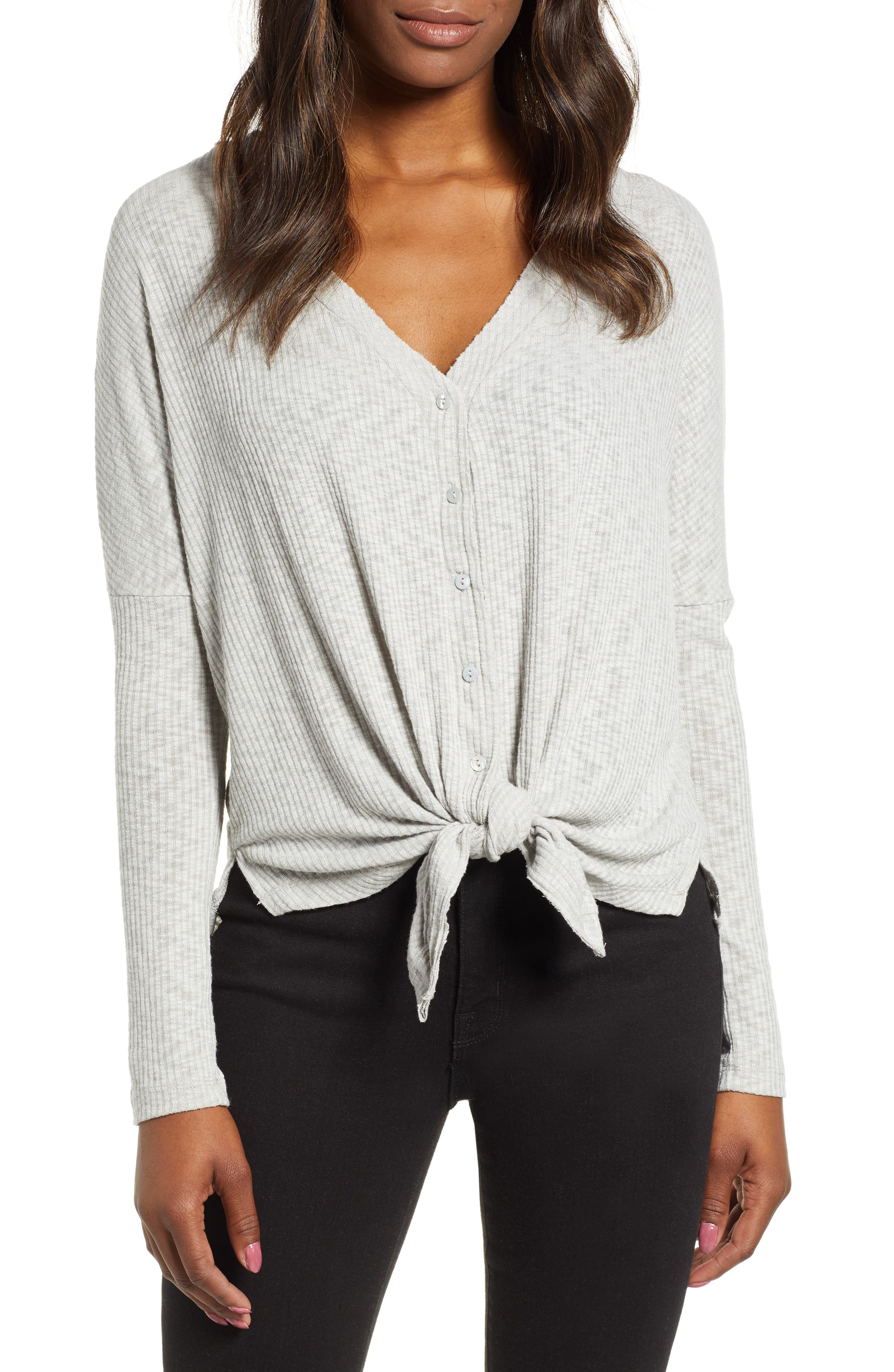 Button Front Ribbed Knit Top,                             Main thumbnail 1, color,                             GREY HEATHER