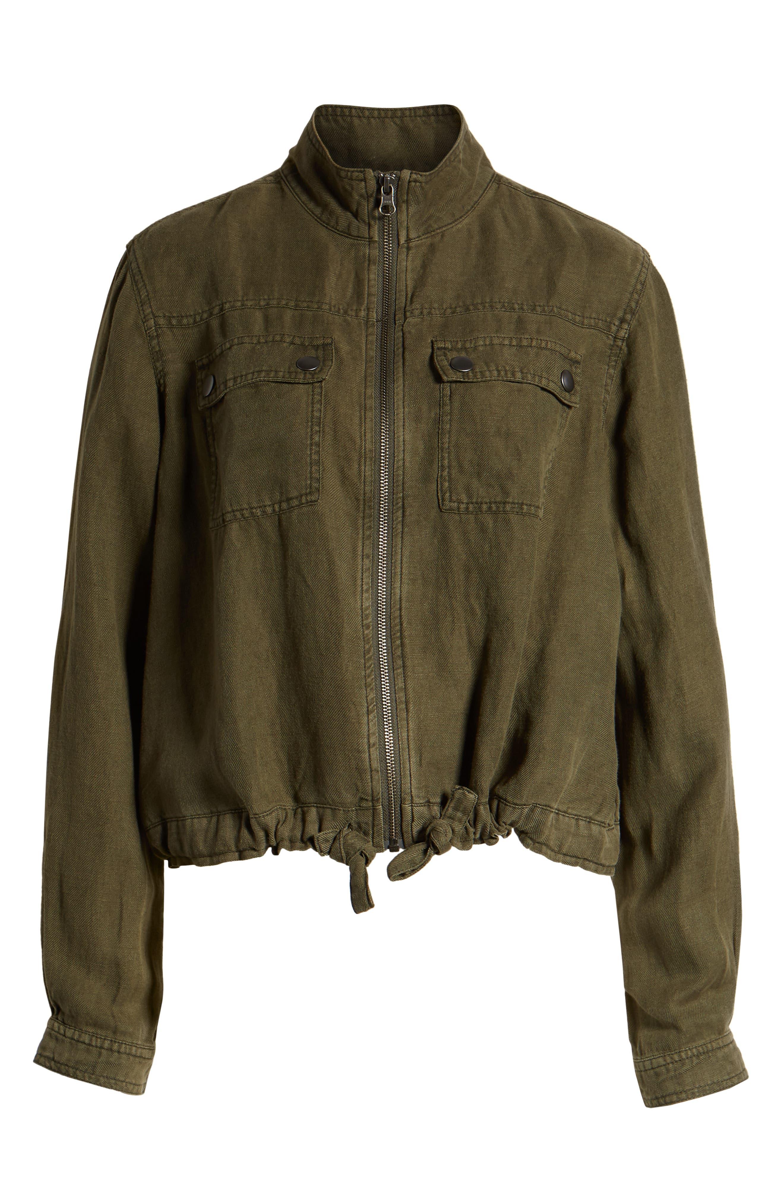 Linen Blend Field Jacket,                             Alternate thumbnail 6, color,                             OLIVE SARMA