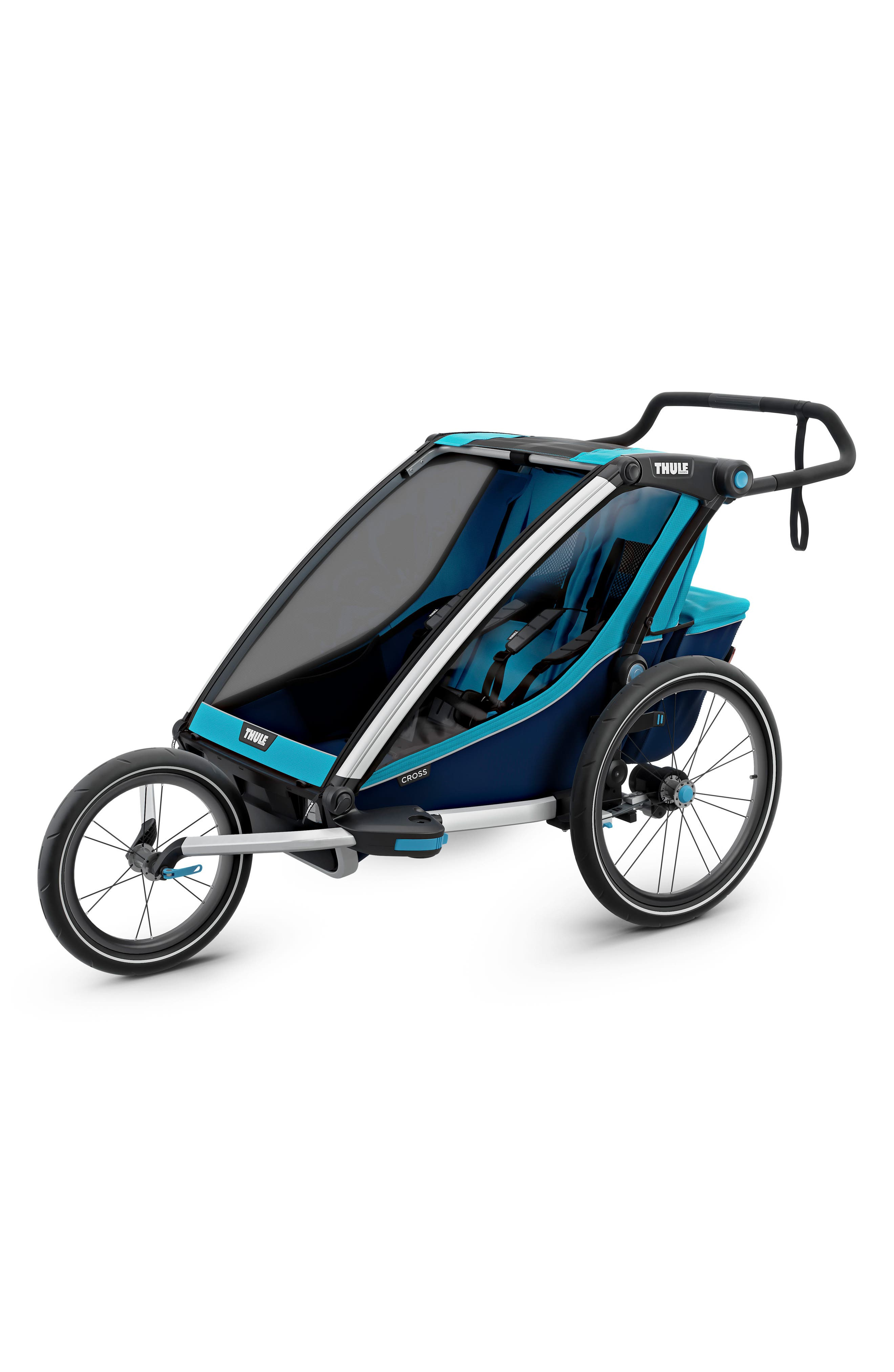 Chariot Cross 2 Multisport Double Cycle Trailer/Stroller,                             Alternate thumbnail 6, color,                             THULE BLUE