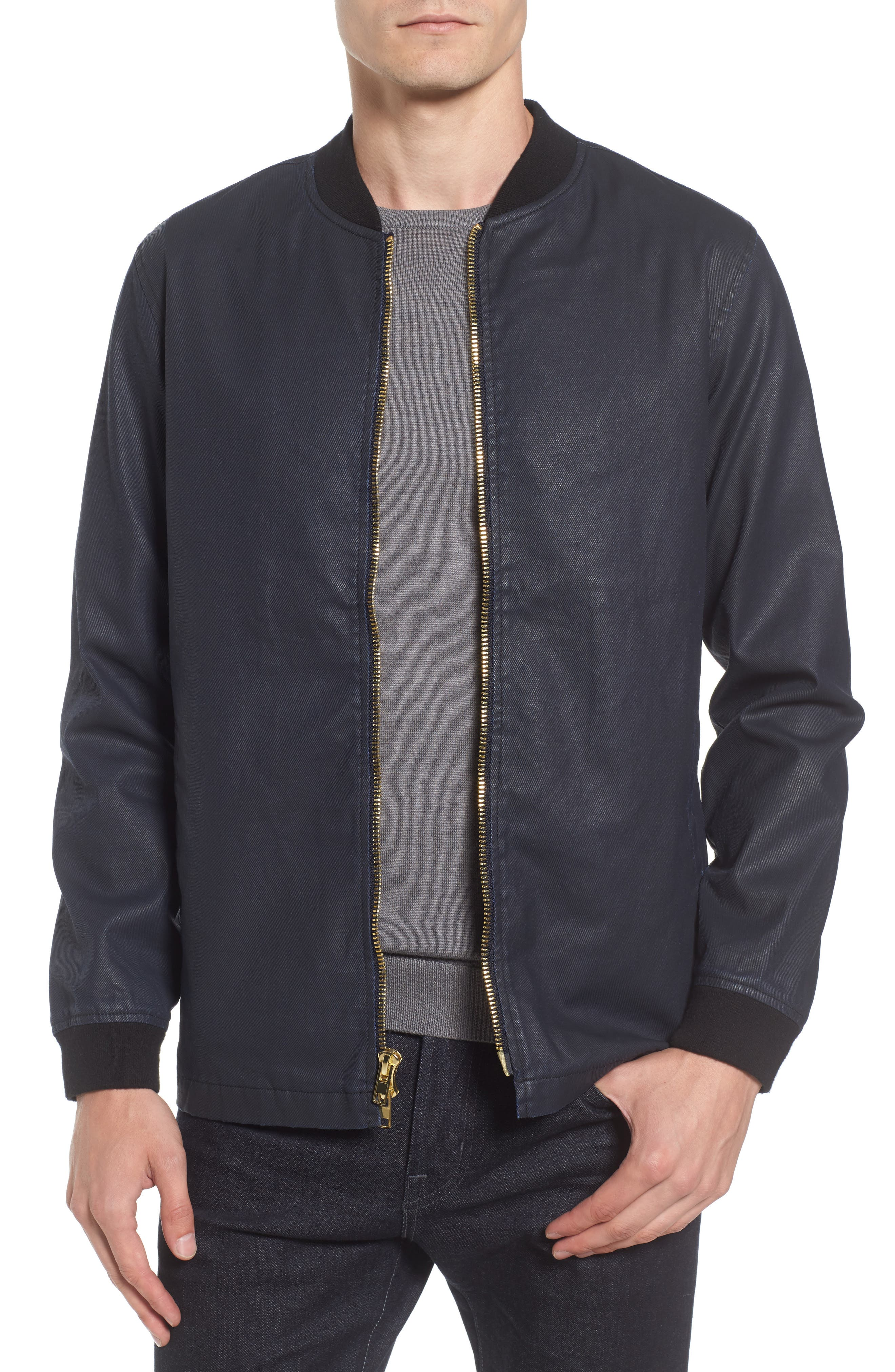 Coated Zip Front Jacket,                         Main,                         color, NAVY