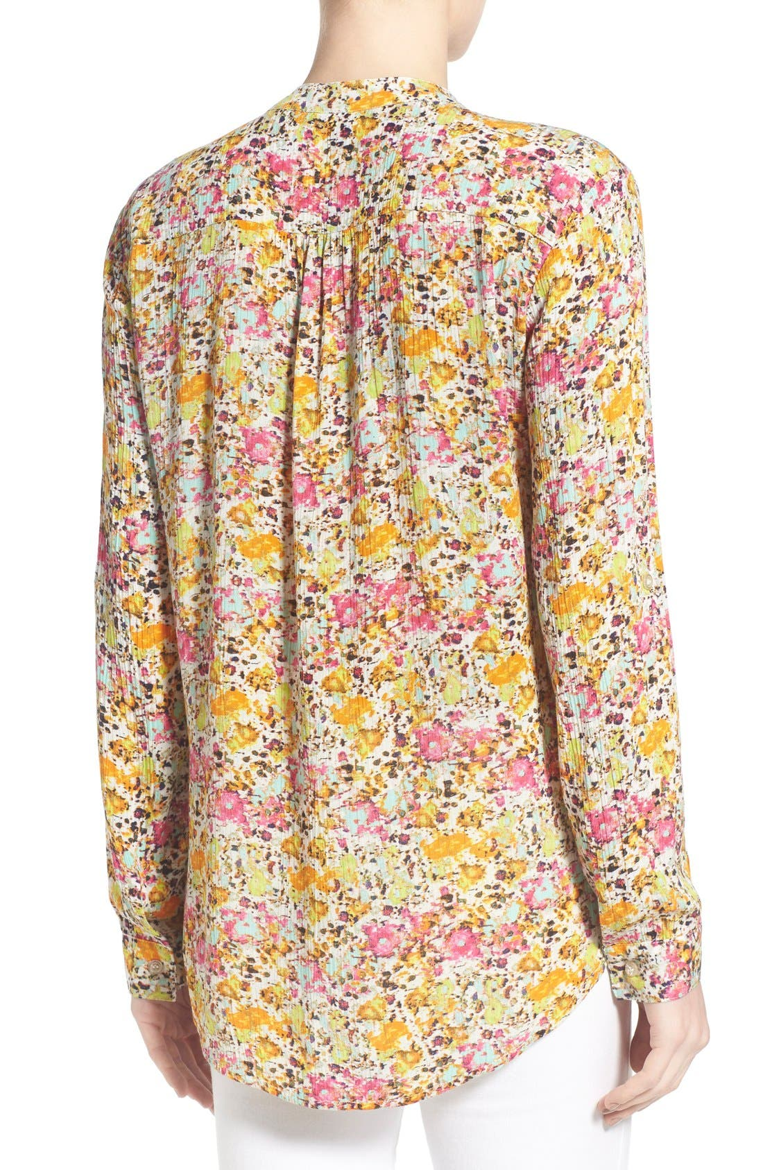 'Jasmine' Floral Print Roll Sleeve Blouse,                             Alternate thumbnail 3, color,                             301
