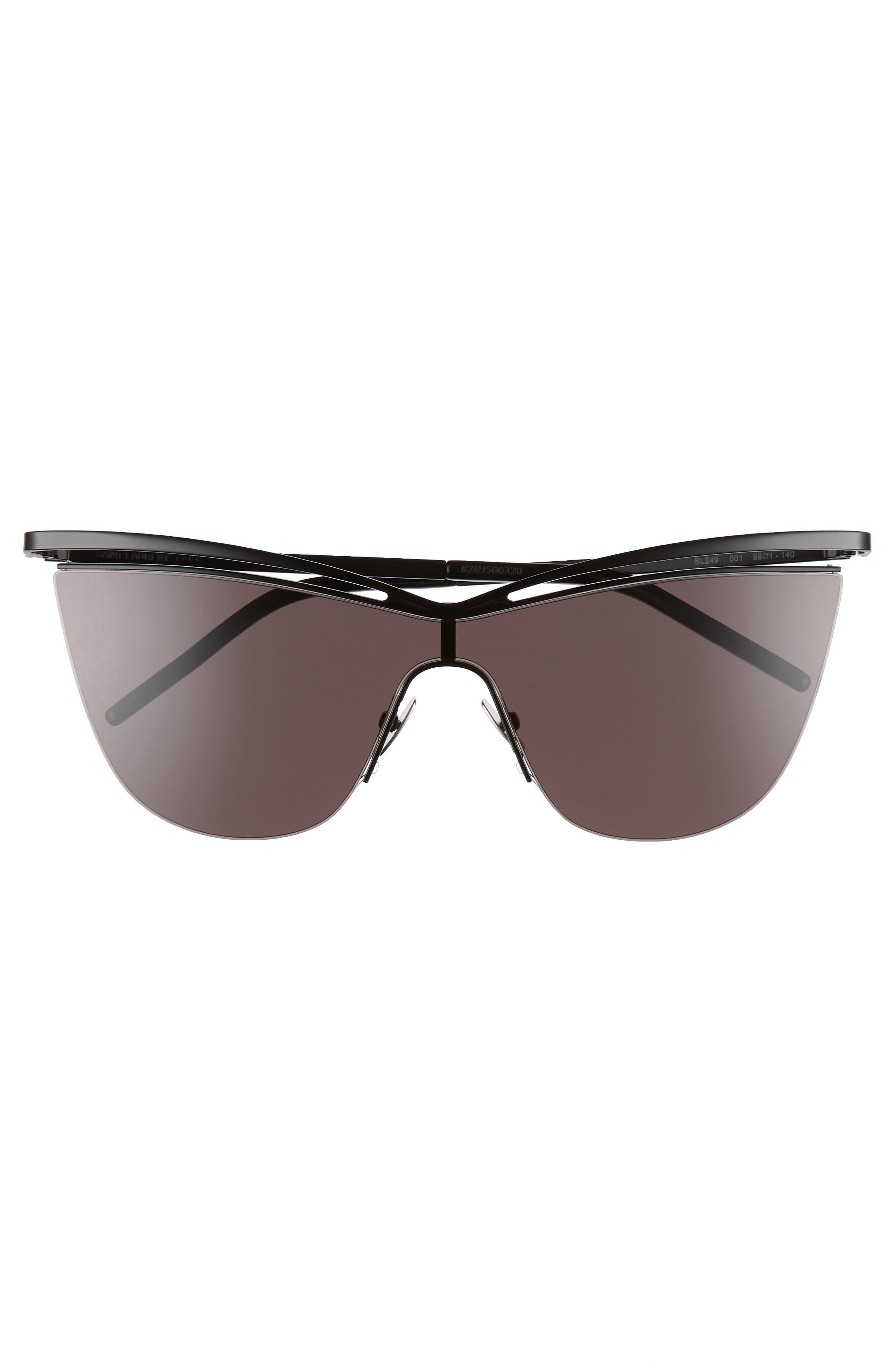134mm Cat Eye Shield Sunglasses,                             Alternate thumbnail 3, color,                             BLACK/ BLACK