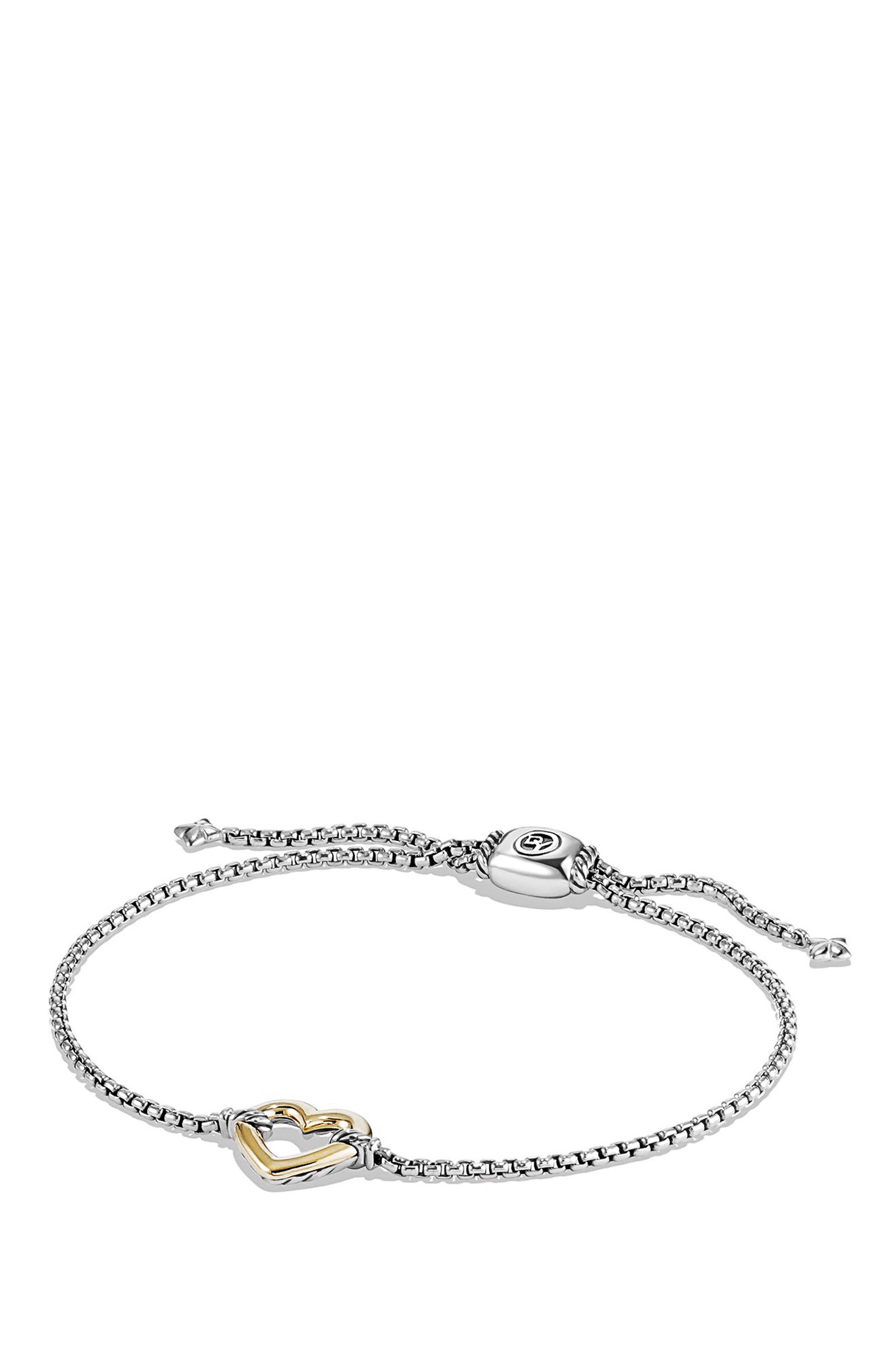 'Cable Collectibles' Heart Station Bracelet with 18K Gold,                         Main,                         color, SILVER/ GOLD