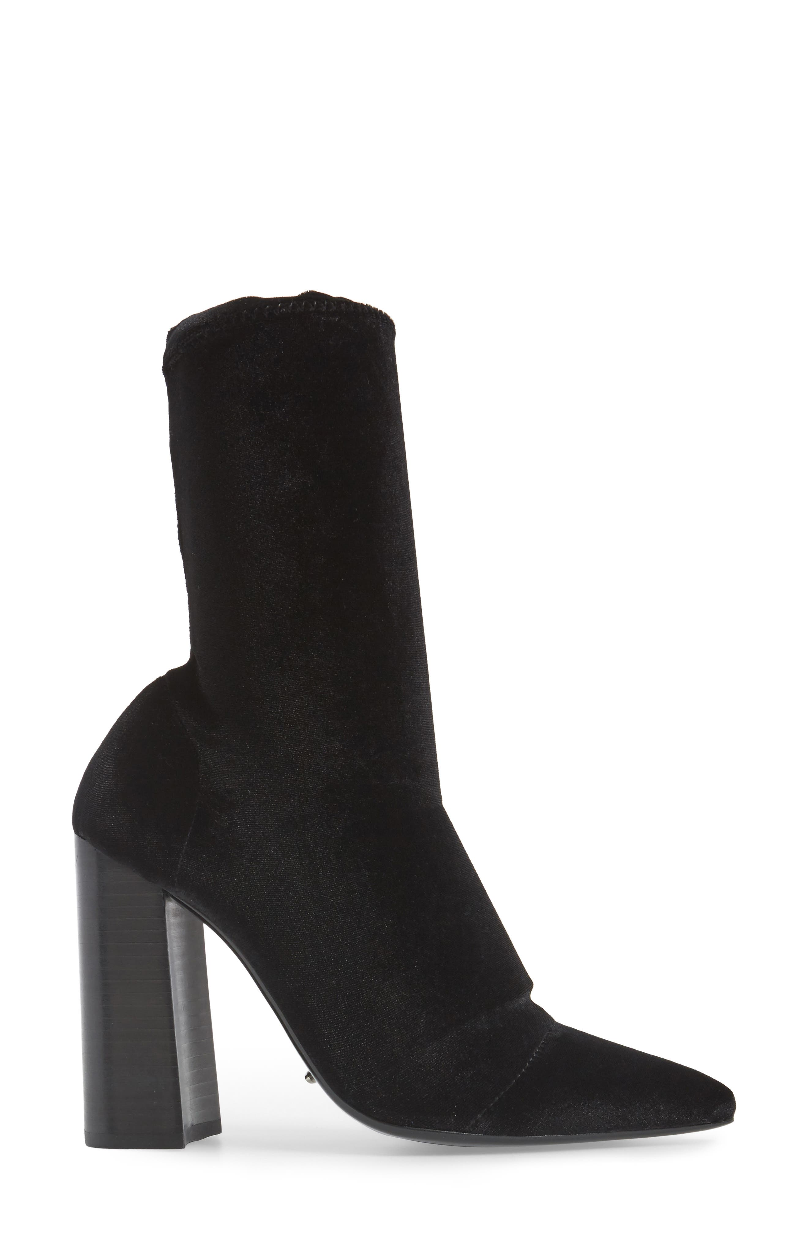 Diddy Velvet Bootie,                             Alternate thumbnail 3, color,                             BLACK FABRIC