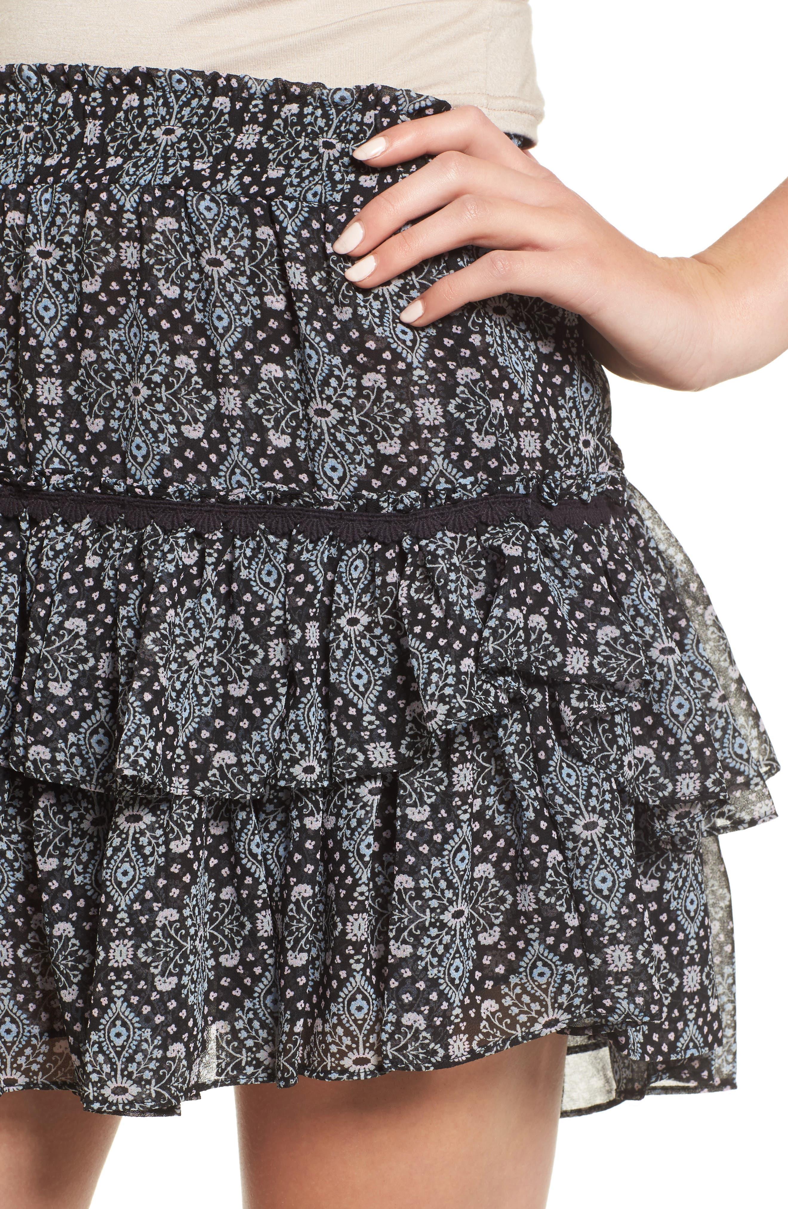 Taleh Ruffle Skirt,                             Alternate thumbnail 4, color,                             001