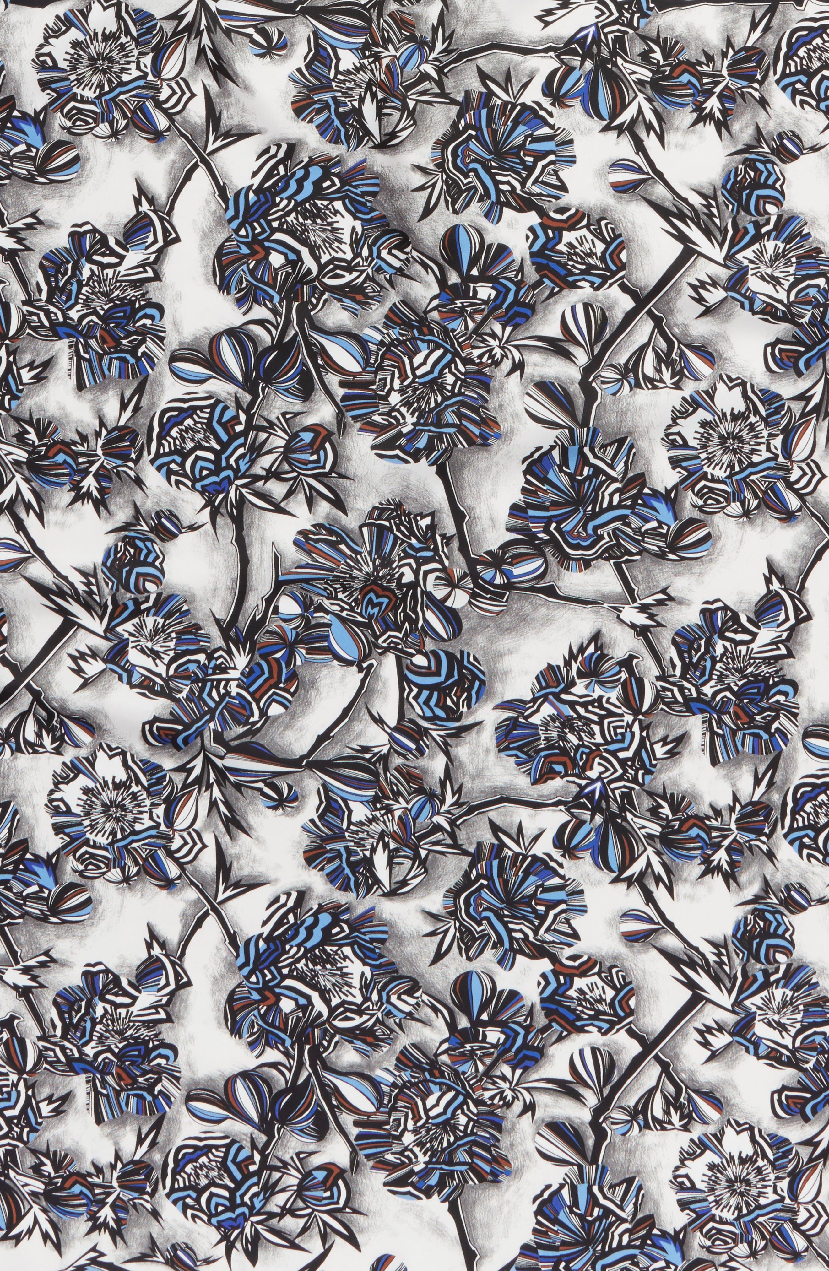 Floral Print Square Silk Scarf,                             Alternate thumbnail 4, color,                             BLUE