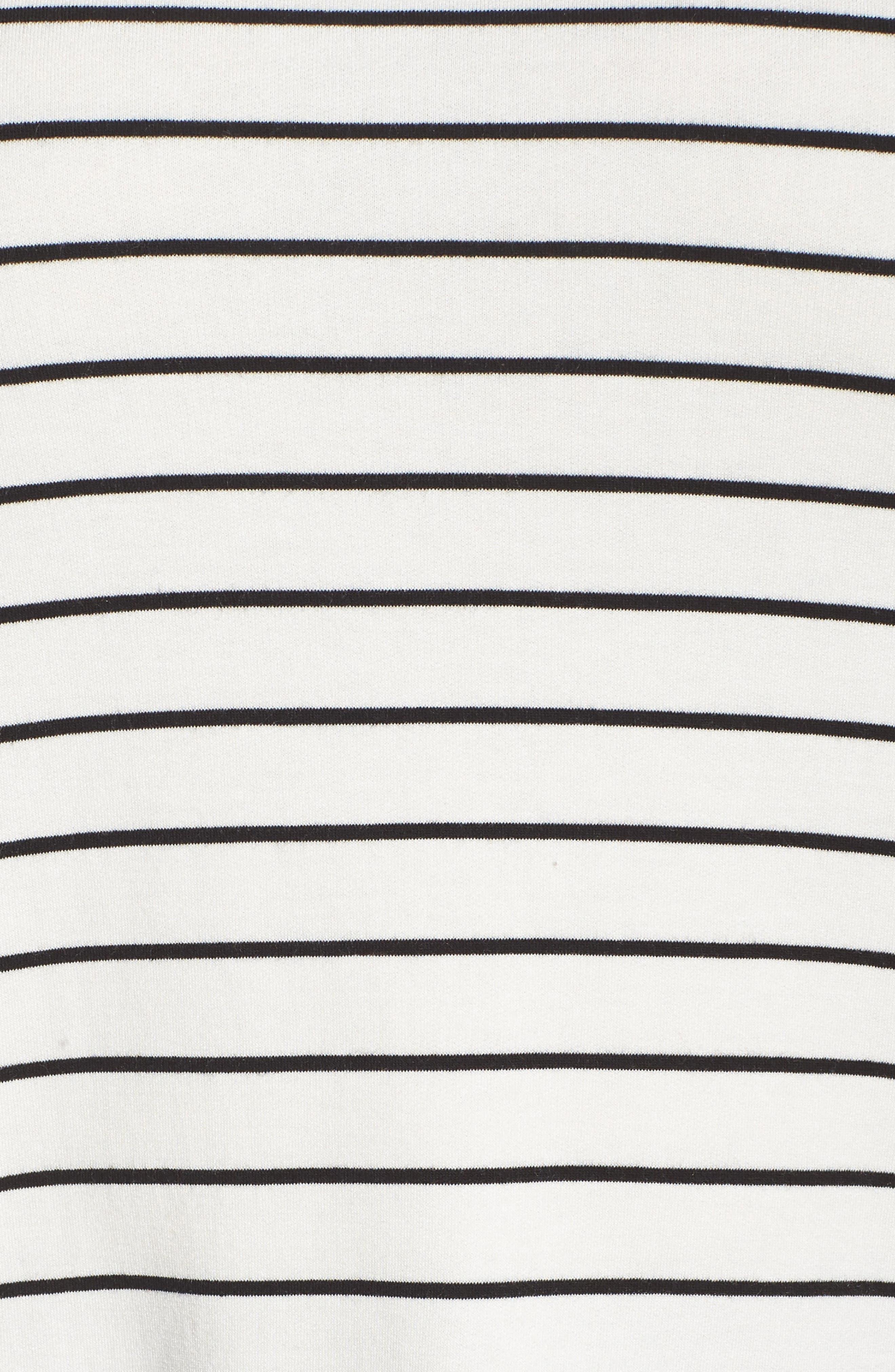 Cowl Neck Tunic Sweatshirt,                             Alternate thumbnail 5, color,                             IVORY- BLACK LUKAH STRIPE