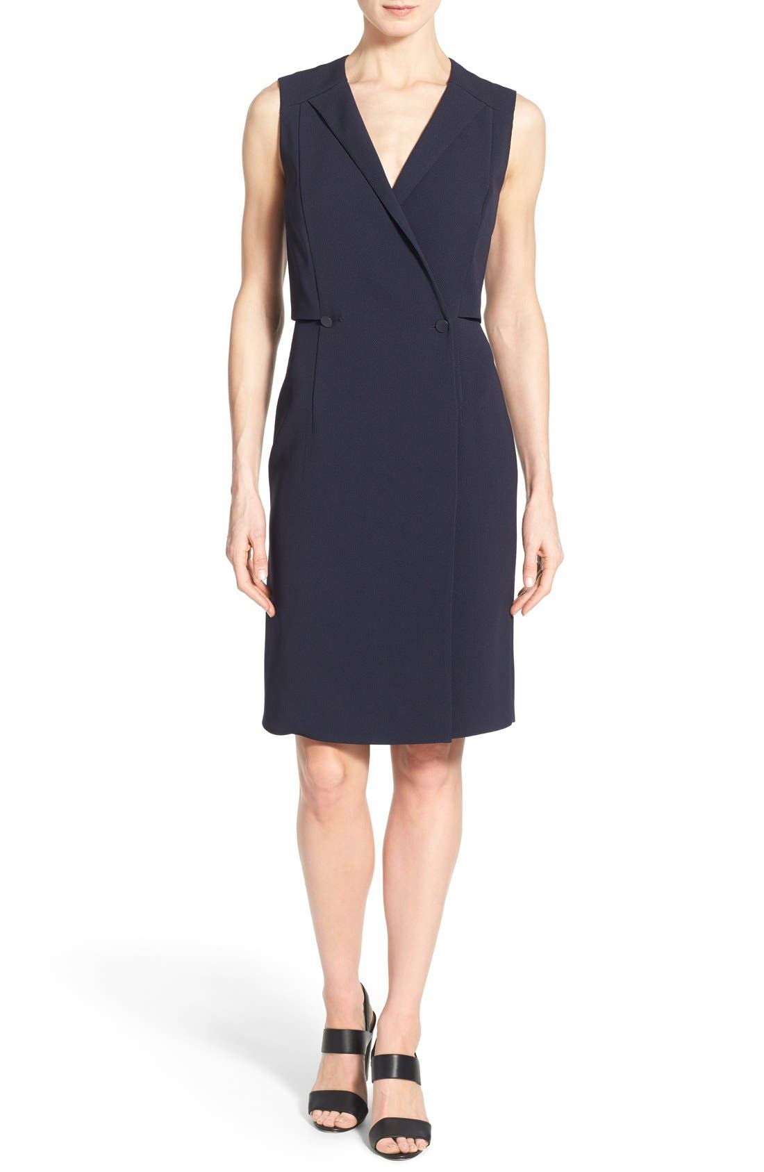 'Damarine' V-Neck Sleeveless Tuxedo Dress,                             Main thumbnail 1, color,                             411