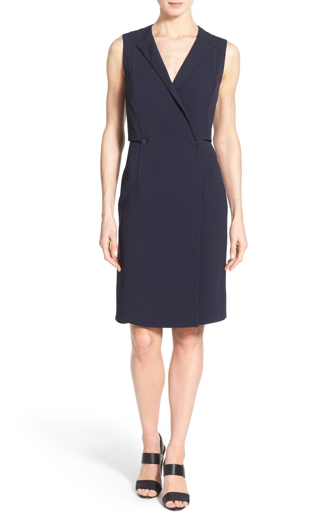 'Damarine' V-Neck Sleeveless Tuxedo Dress, Main, color, 411