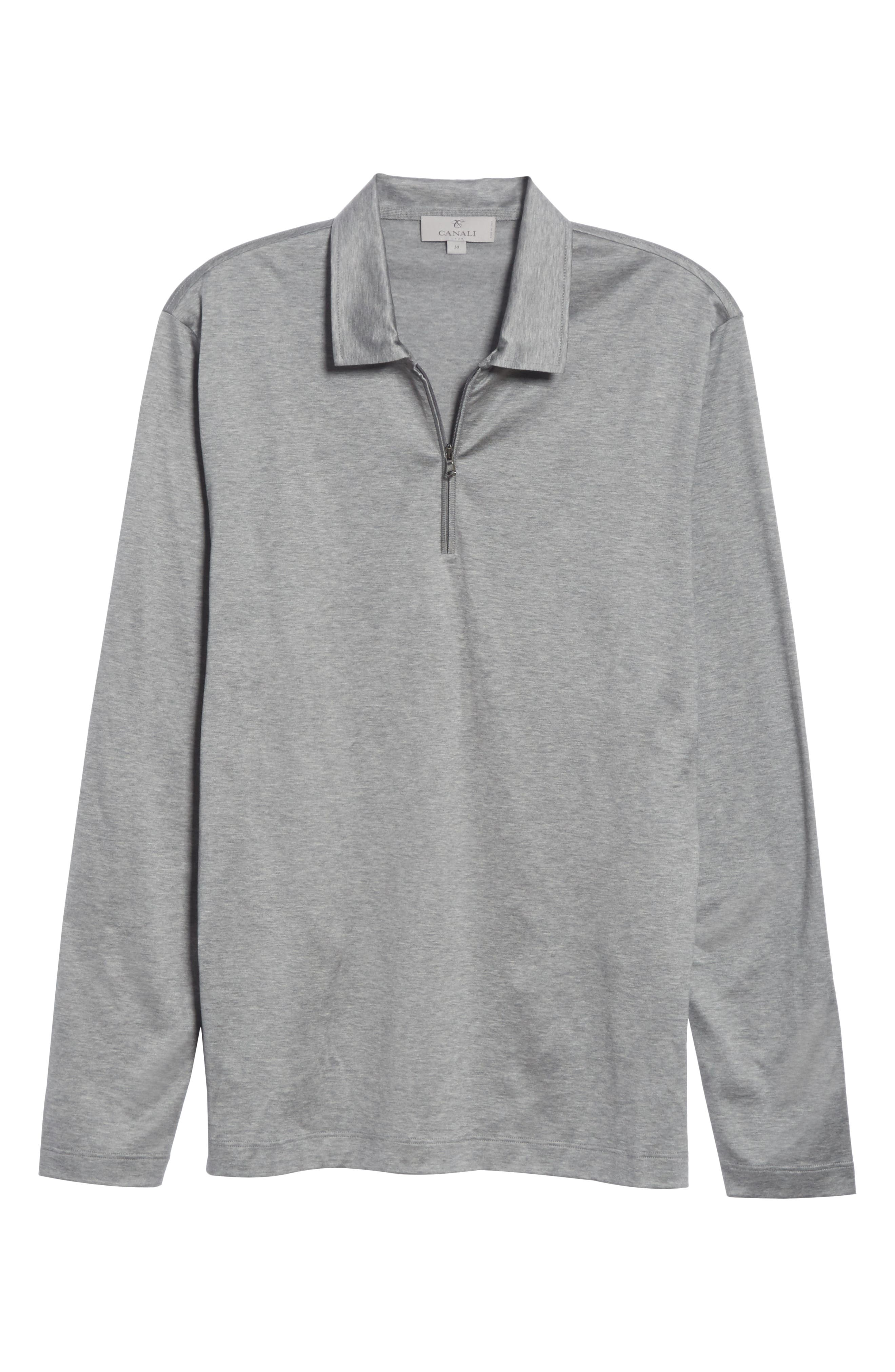Cotton Quarter Zip Polo Shirt,                             Alternate thumbnail 6, color,                             020