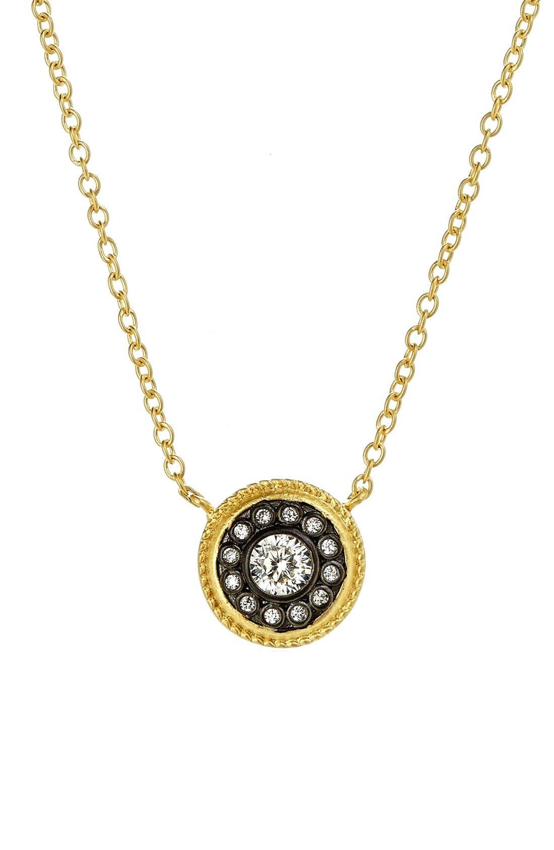 'Hamptons' Nautical Button Pendant Necklace,                         Main,                         color, GOLD/ GUNMETAL
