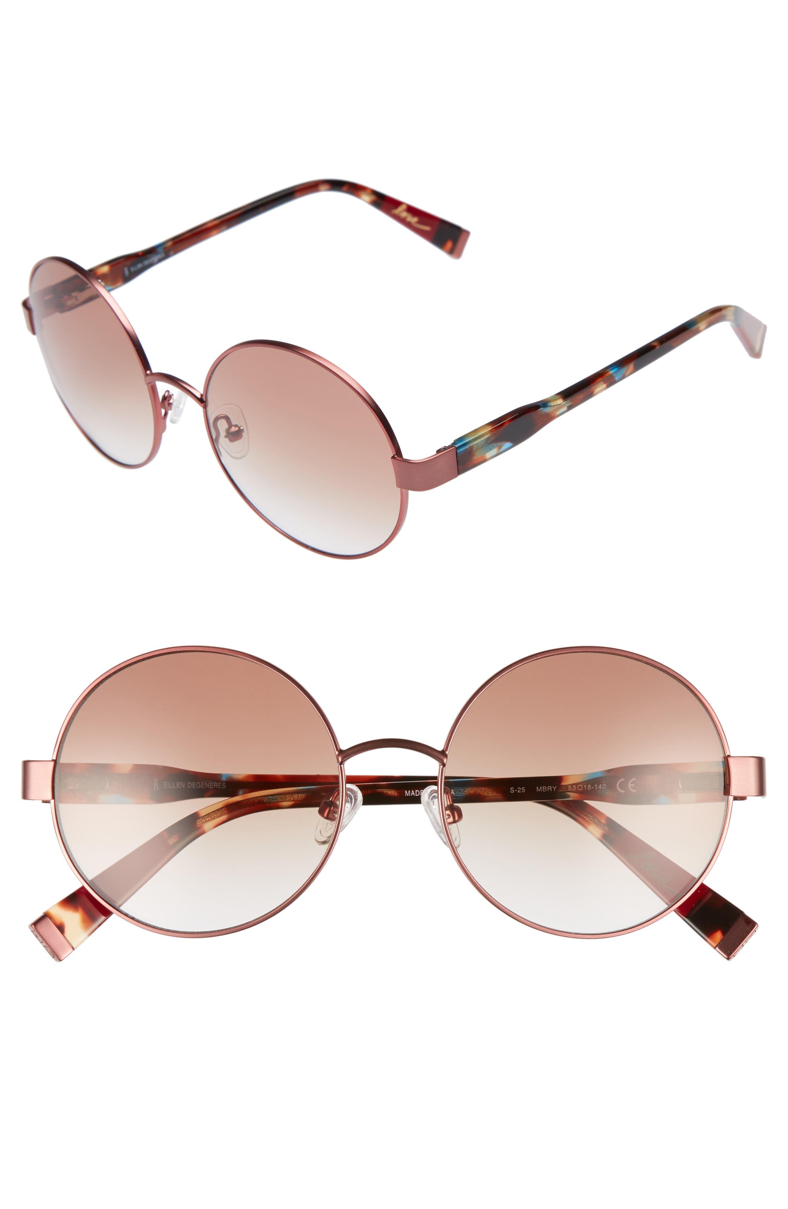 53mm Round Sunglasses,                             Main thumbnail 1, color,                             MATTE BERRY