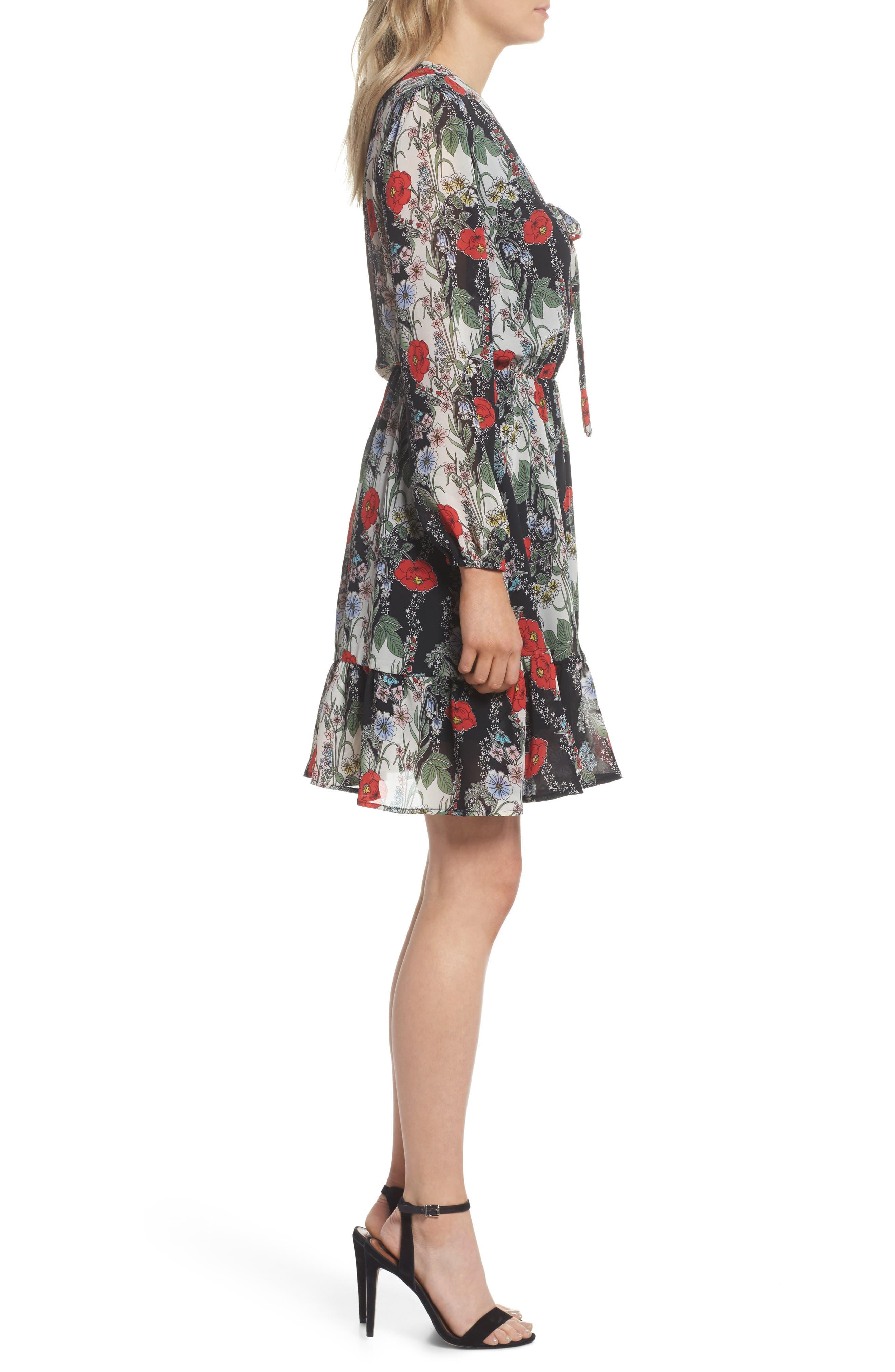 Lidia Tie Front Dress,                             Alternate thumbnail 3, color,                             LIDIA