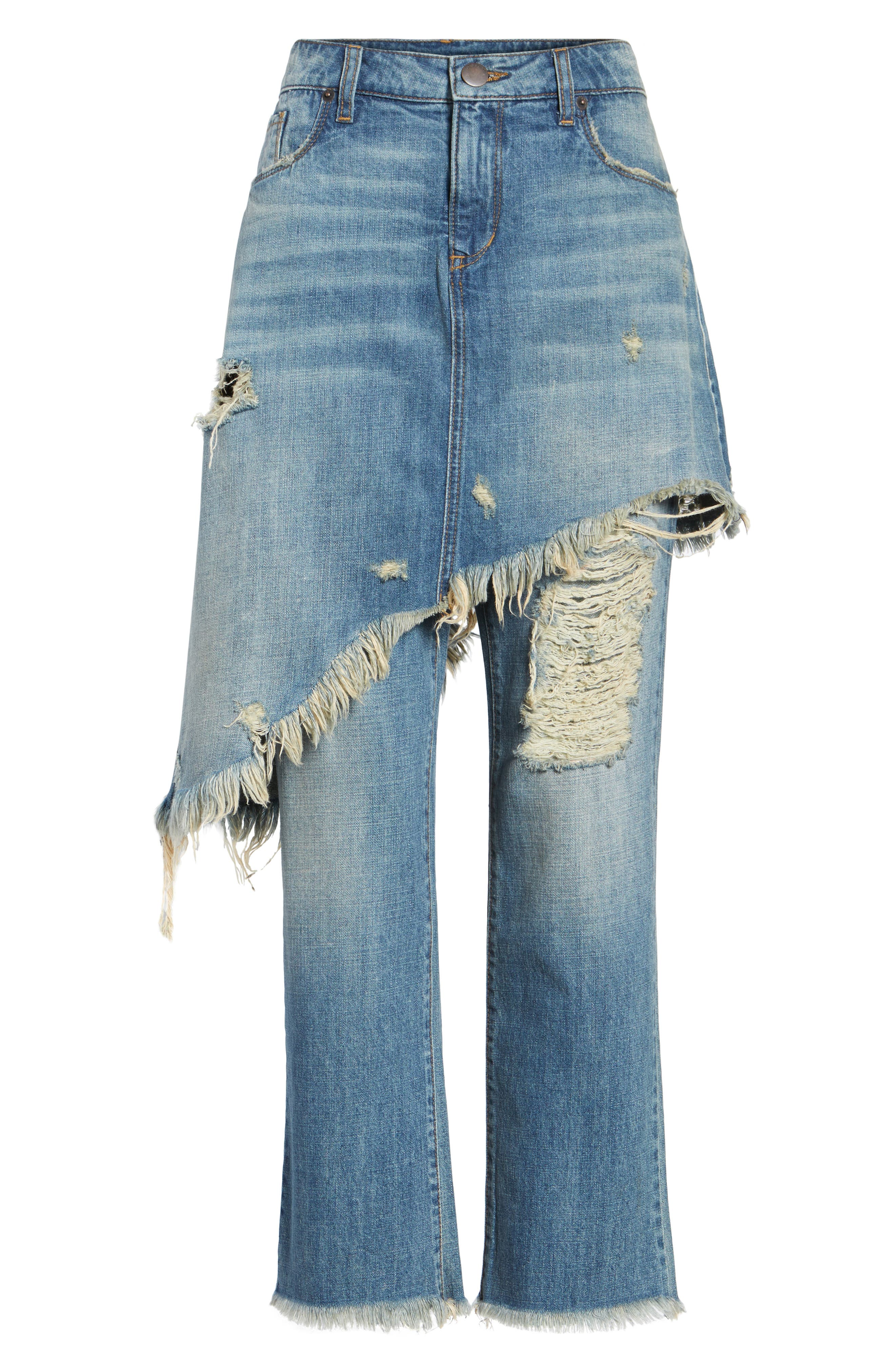 Layered Ripped Skirt Jeans,                             Alternate thumbnail 6, color,                             400