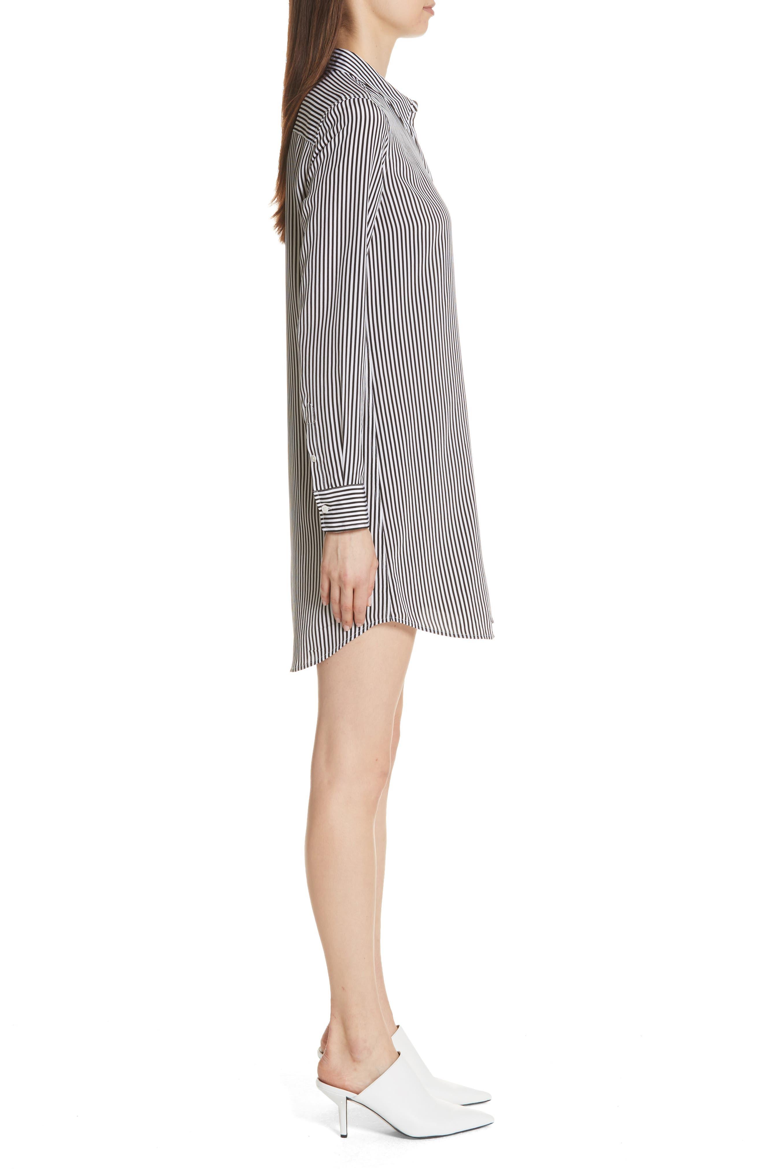 Brett Stripe Silk Shirtdress,                             Alternate thumbnail 3, color,                             002