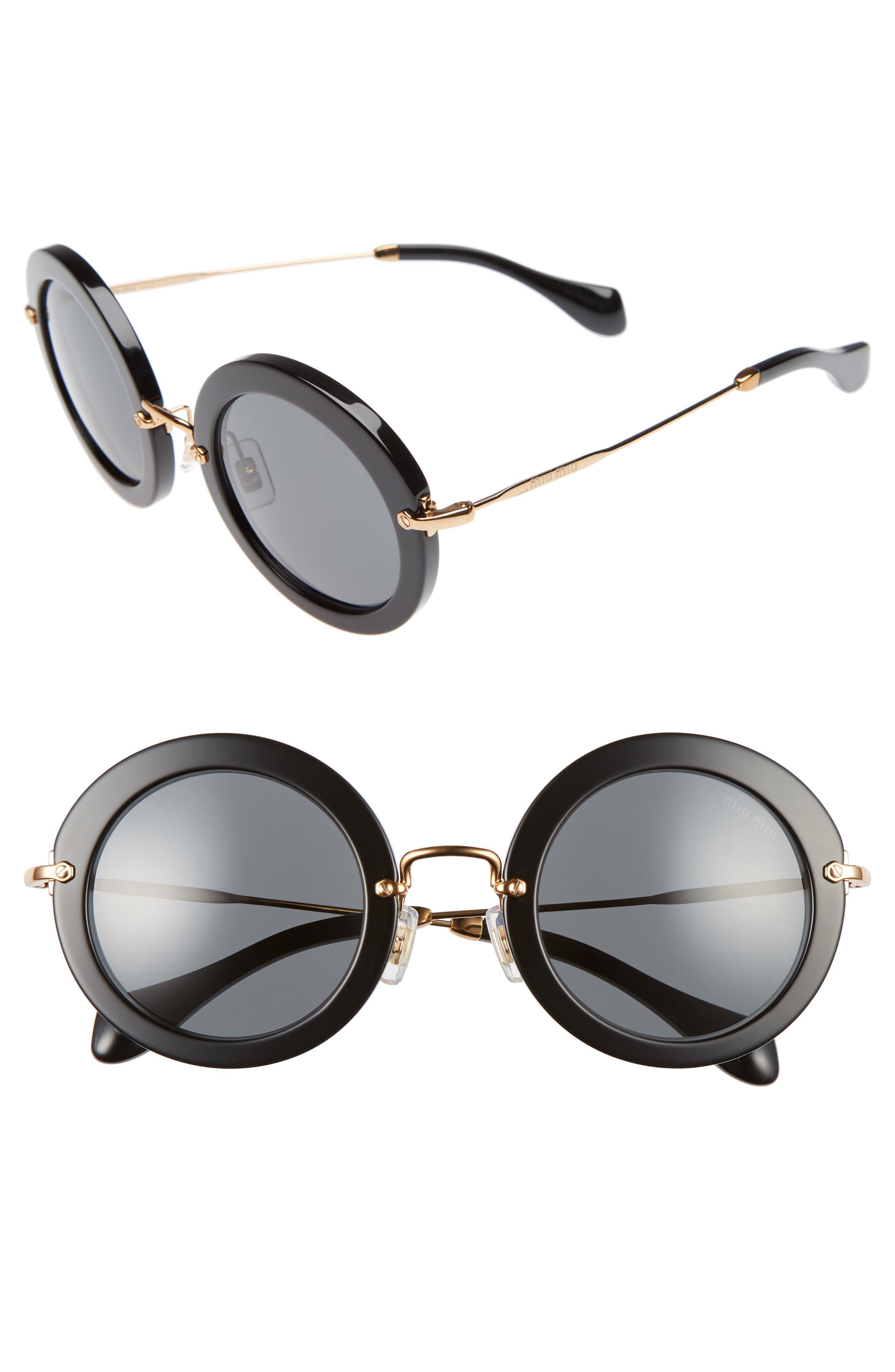49mm Round Retro Sunglasses,                             Alternate thumbnail 2, color,                             001