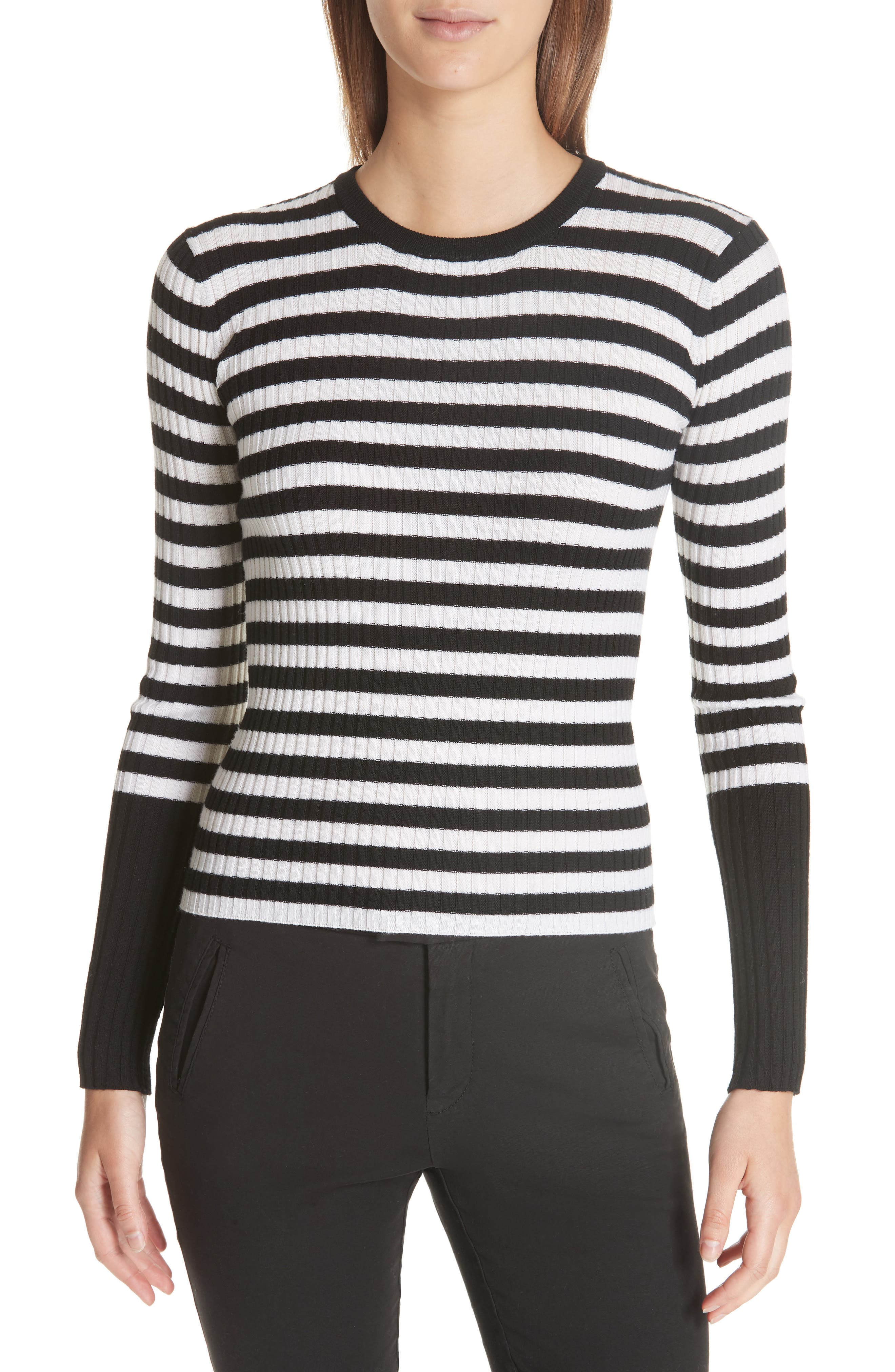 Stripe Rib Merino Wool Sweater,                             Main thumbnail 1, color,                             BLACK/ WHITE STRIPE