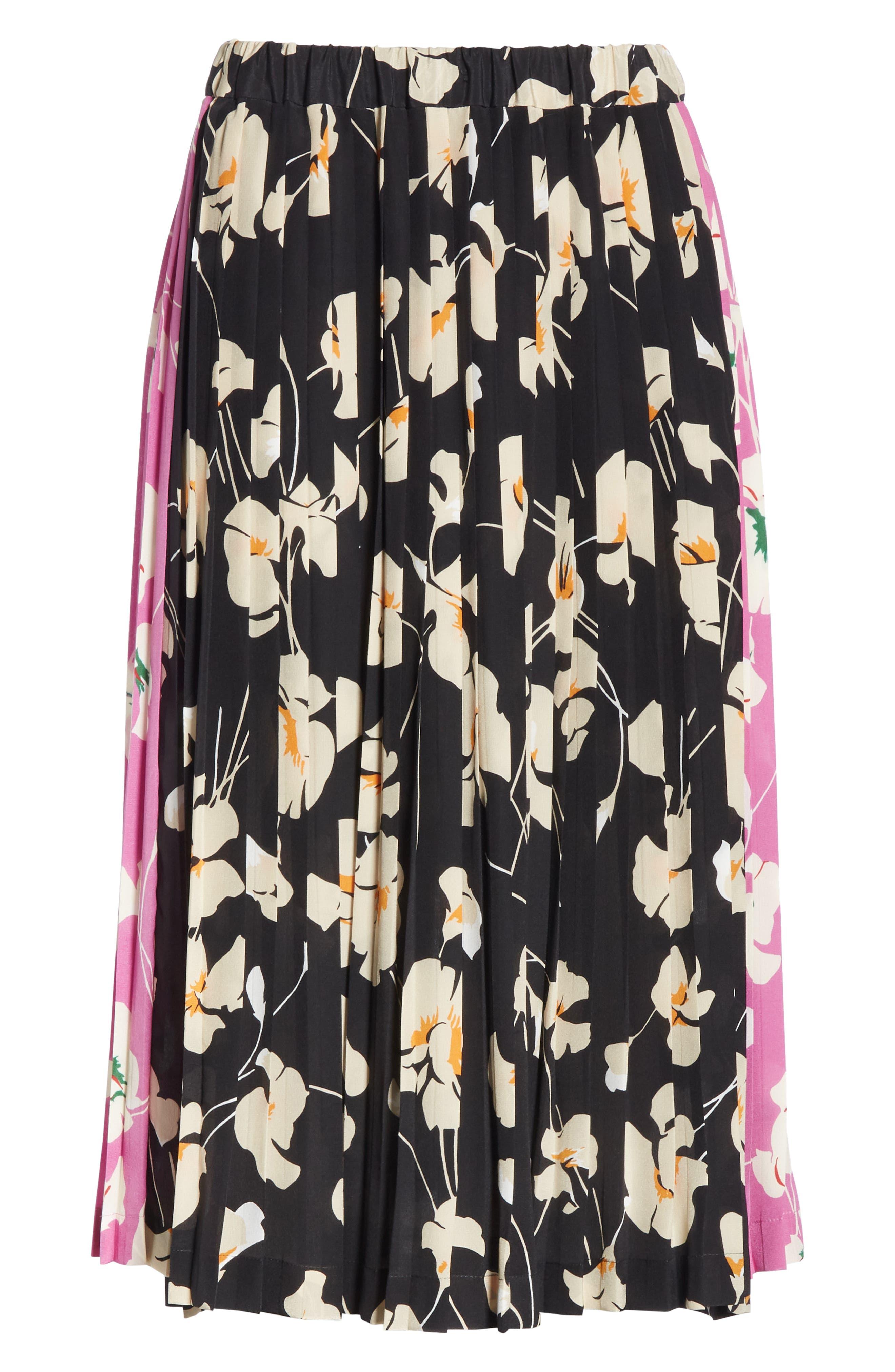 N°21,                             Nº21 Contrast Panel Floral Print Silk Skirt,                             Alternate thumbnail 6, color,                             STAMPA FONDO NERO
